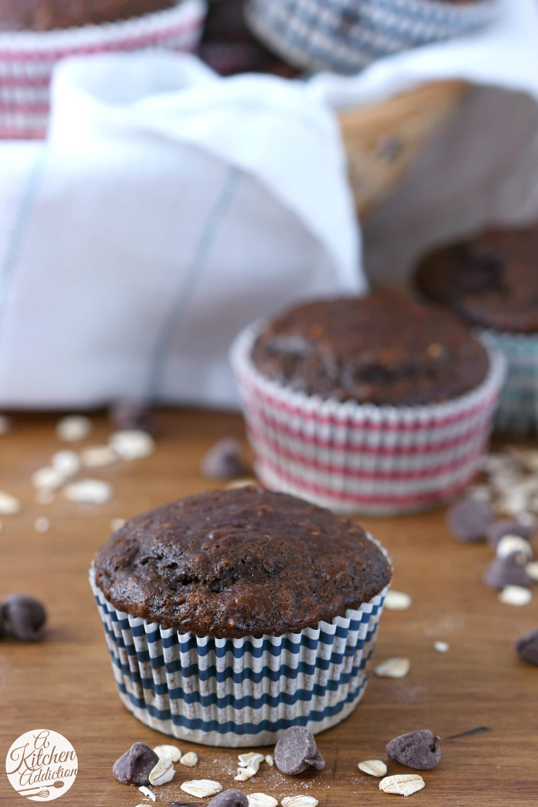 Skinny Double Chocolate Yogurt Oat Muffins Recipe from A Kitchen Addiction