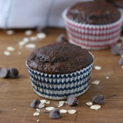 Lightened Up Double Chocolate Yogurt Oat Muffins Recipe from A Kitchen Addiction