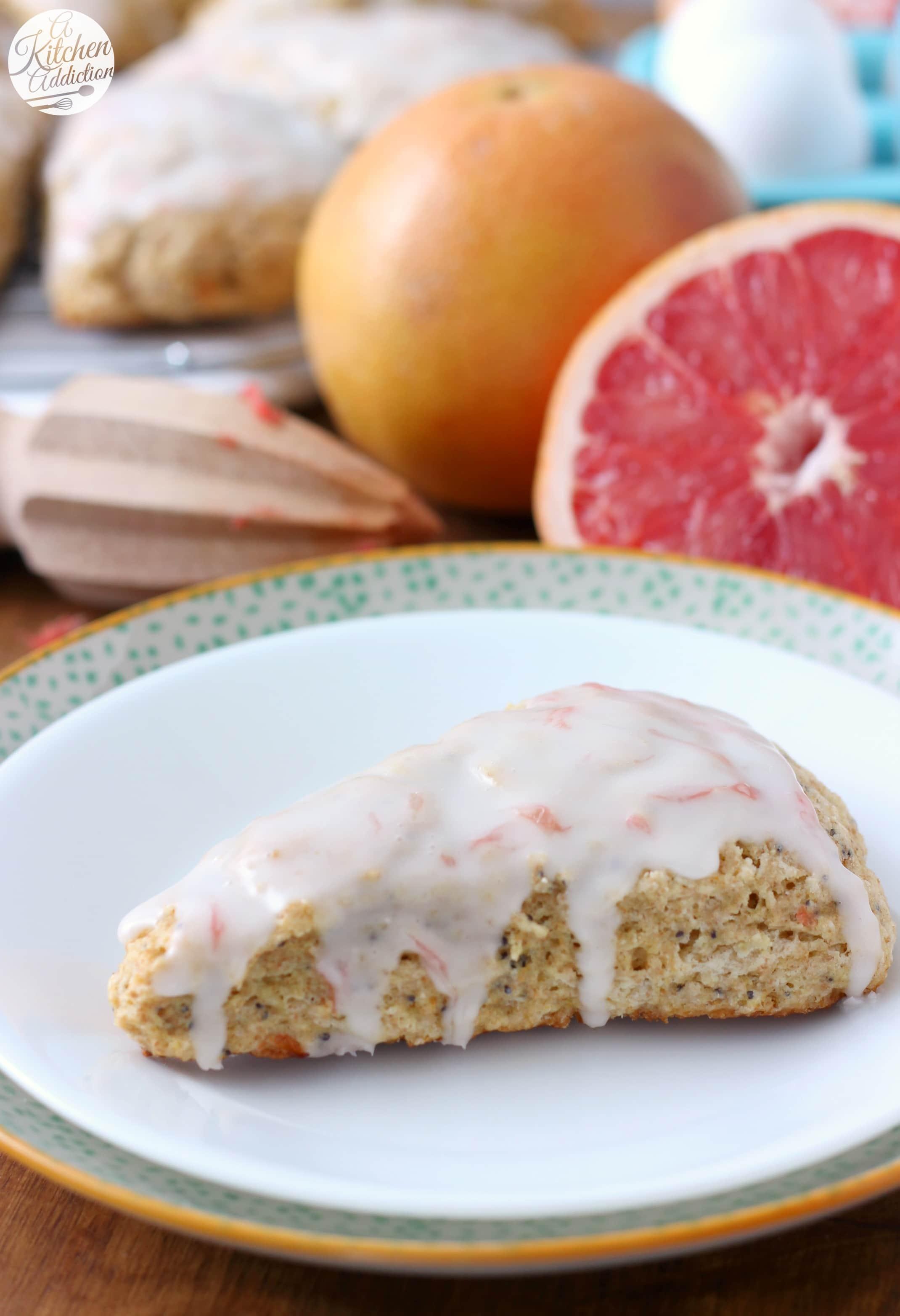 Glazed Grapefruit Poppyseed Scones Recipe from A Kitchen Addiction