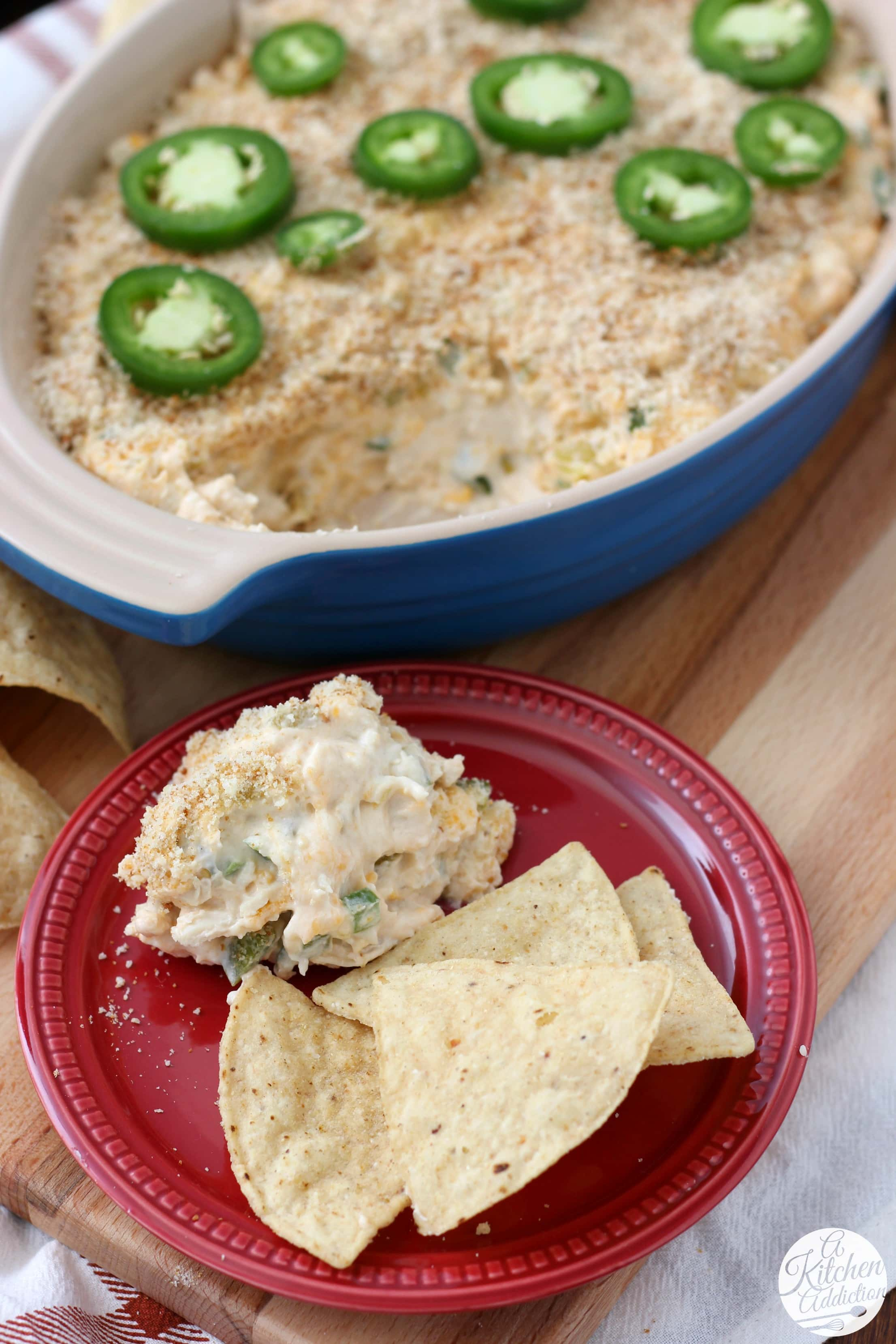 Easy Slow Cooker Jalapeno Popper Chicken Dip Recipe from A Kitchen Addiction