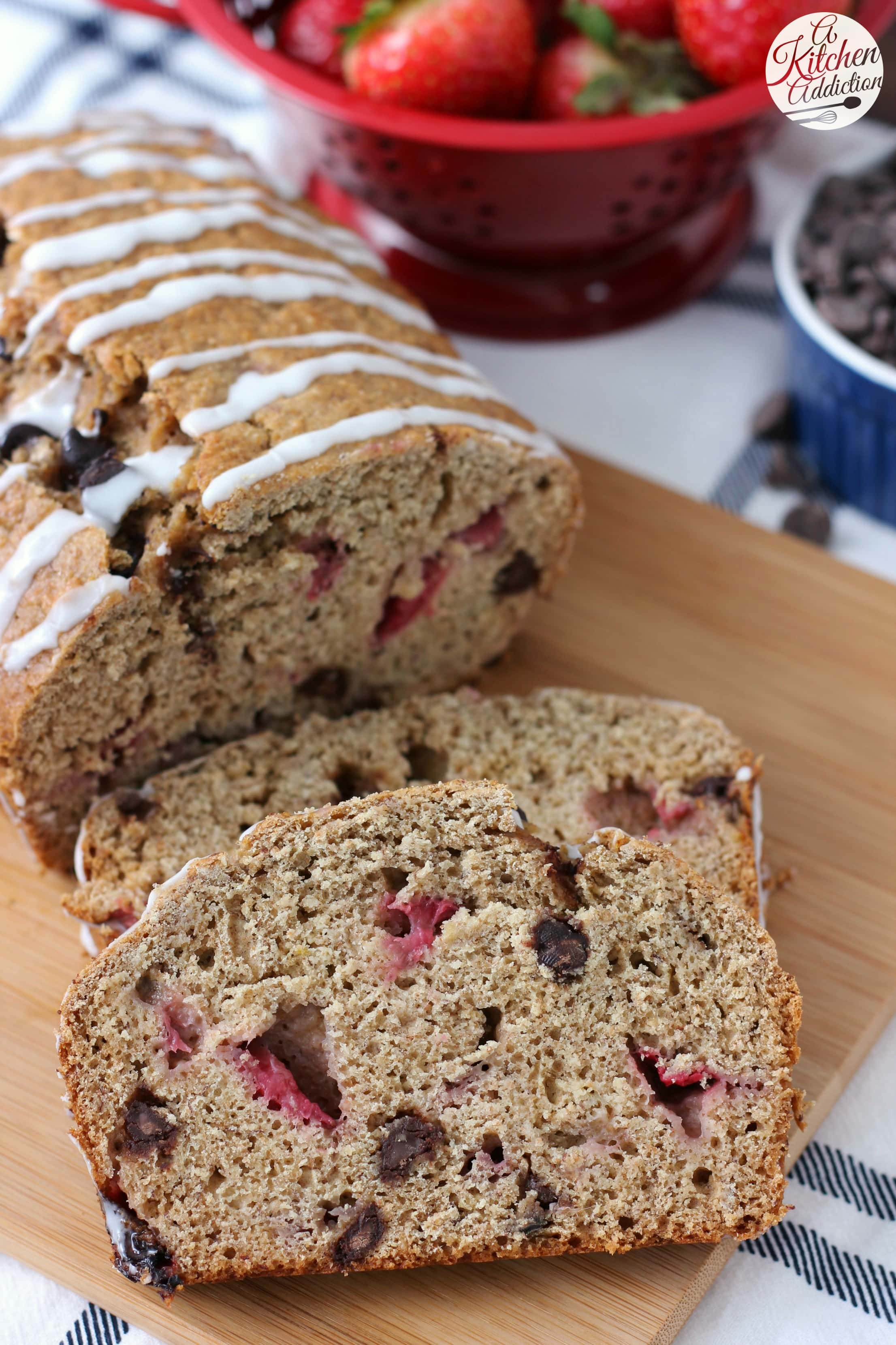 Strawberry Chocolate Chip Graham Banana Bread Recipe from A Kitchen Addiction