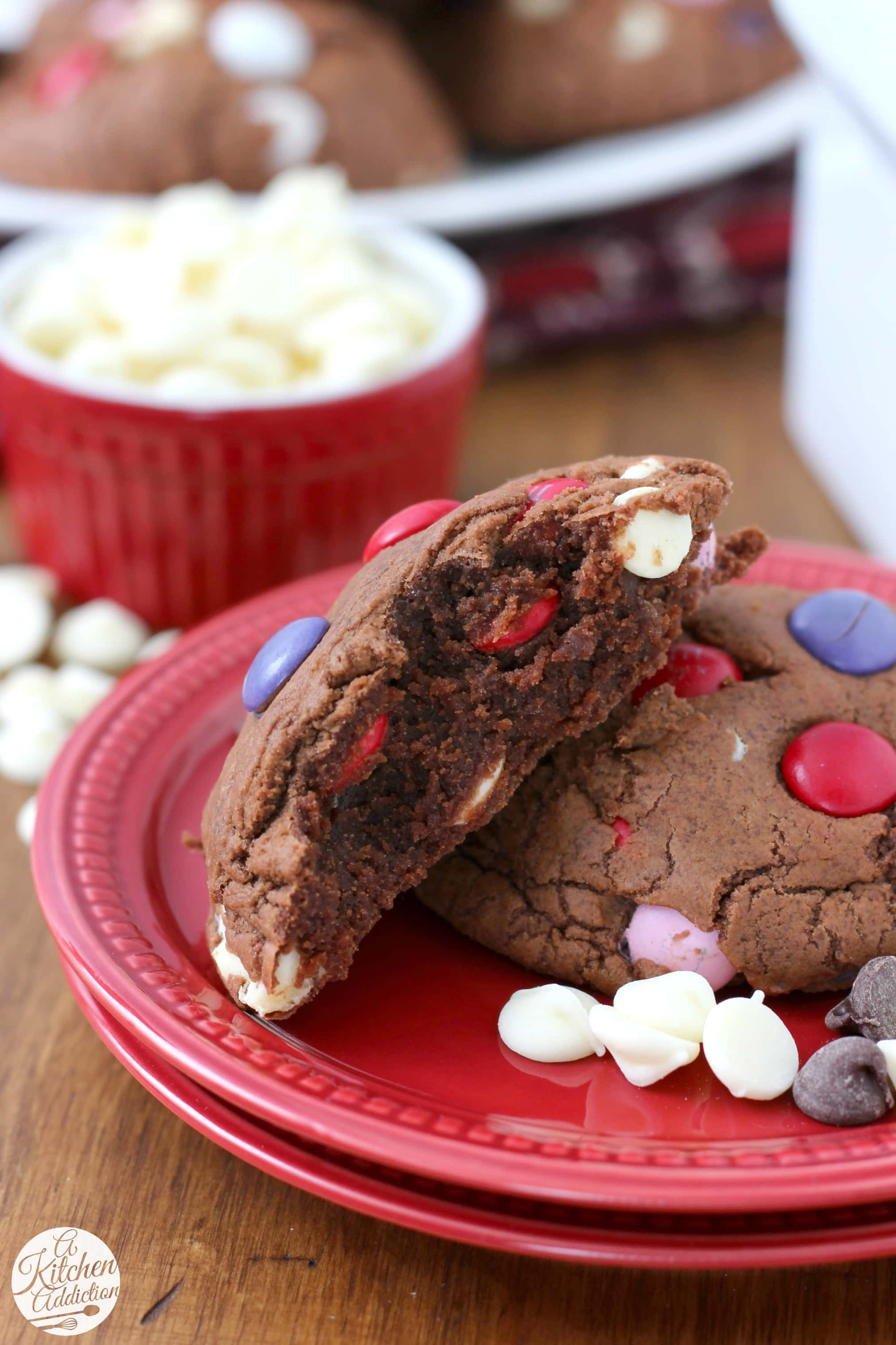 Giant Triple Chocolate Fudge Cookies Recipe from A Kitchen Addiction