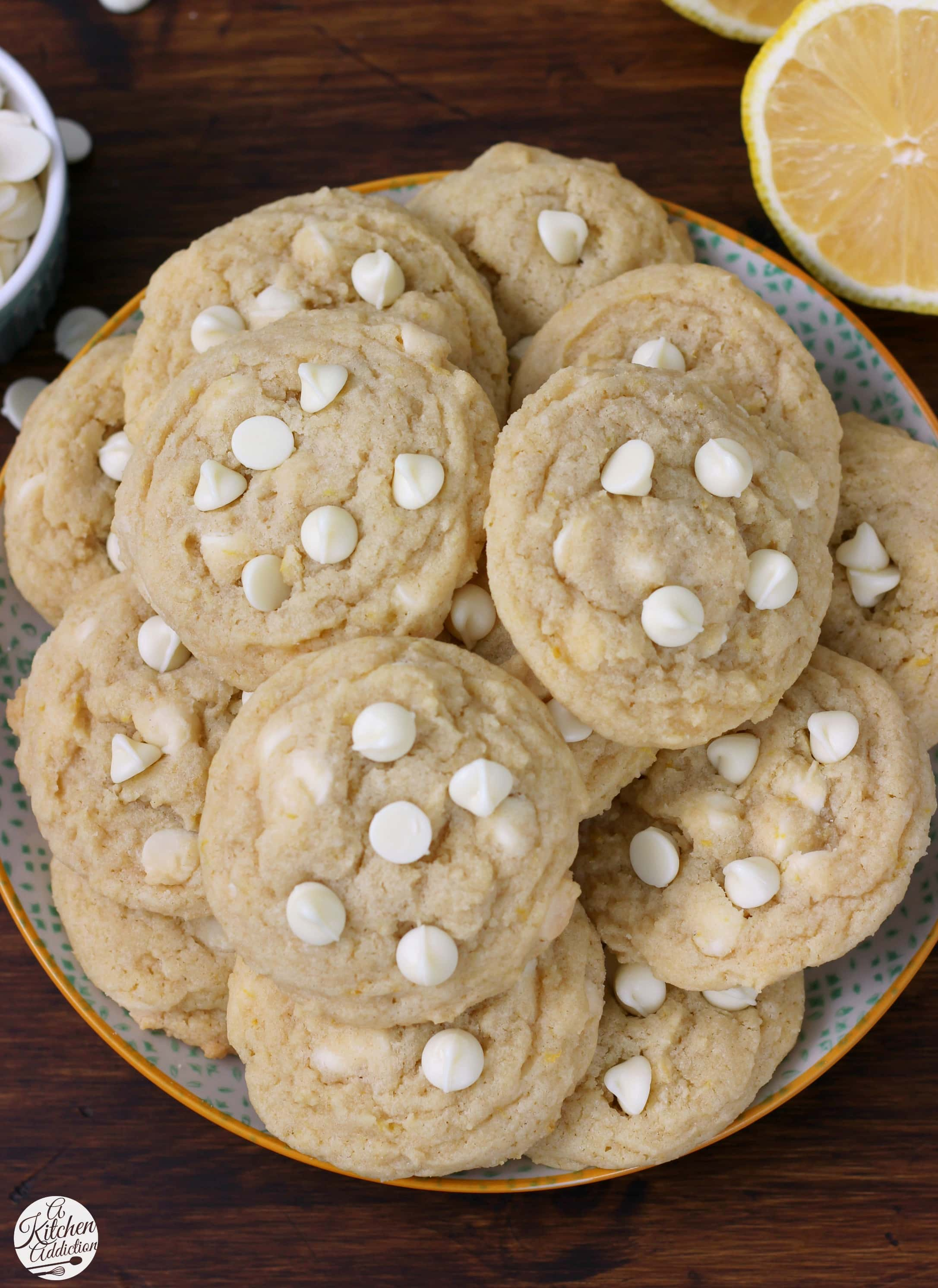 Easy White Chocolate Lemon Cookies Recipe from A Kitchen Addiction