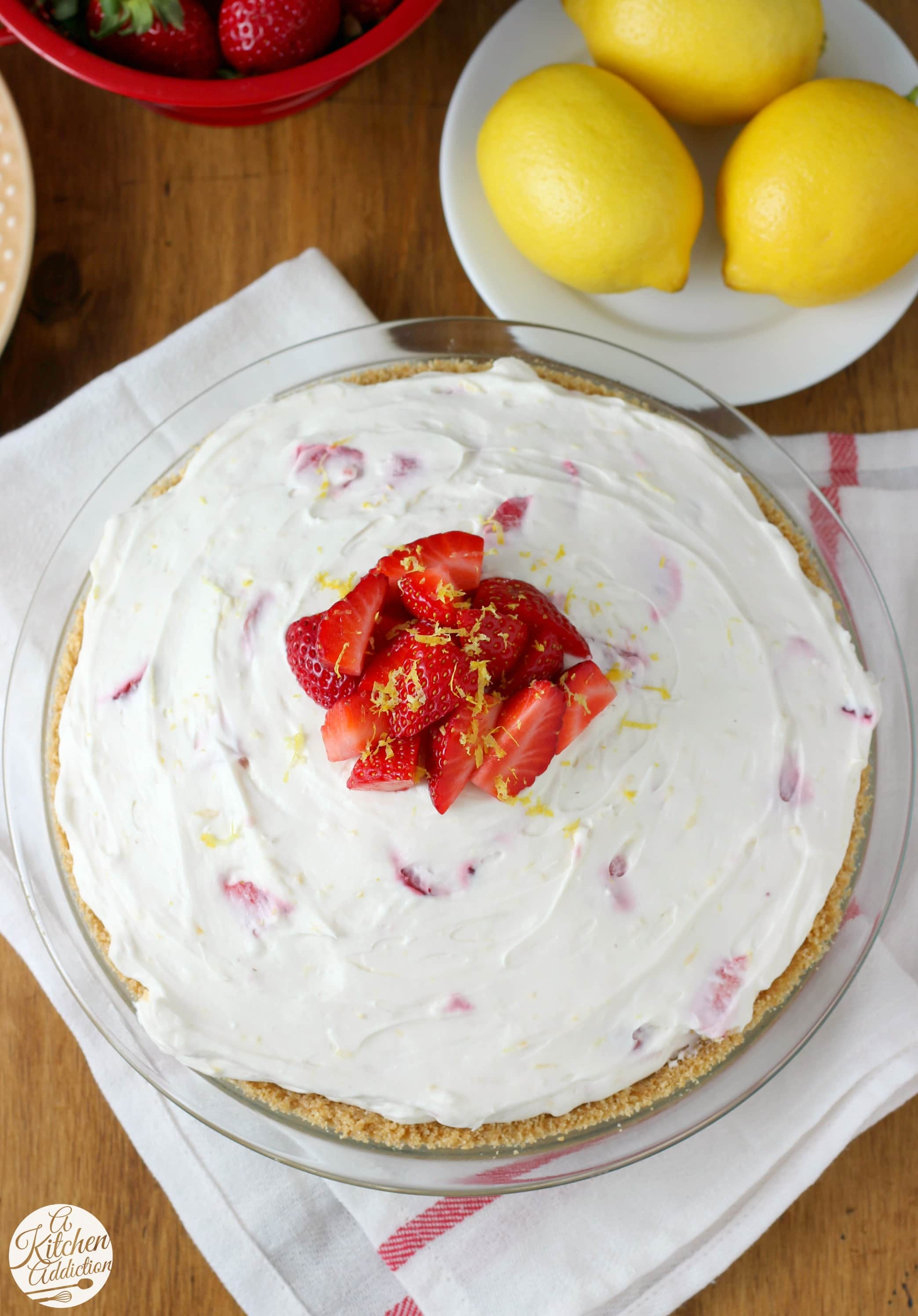 Easy No Bake Strawberry Lemon Cream Pie Recipe from A Kitchen Addiction