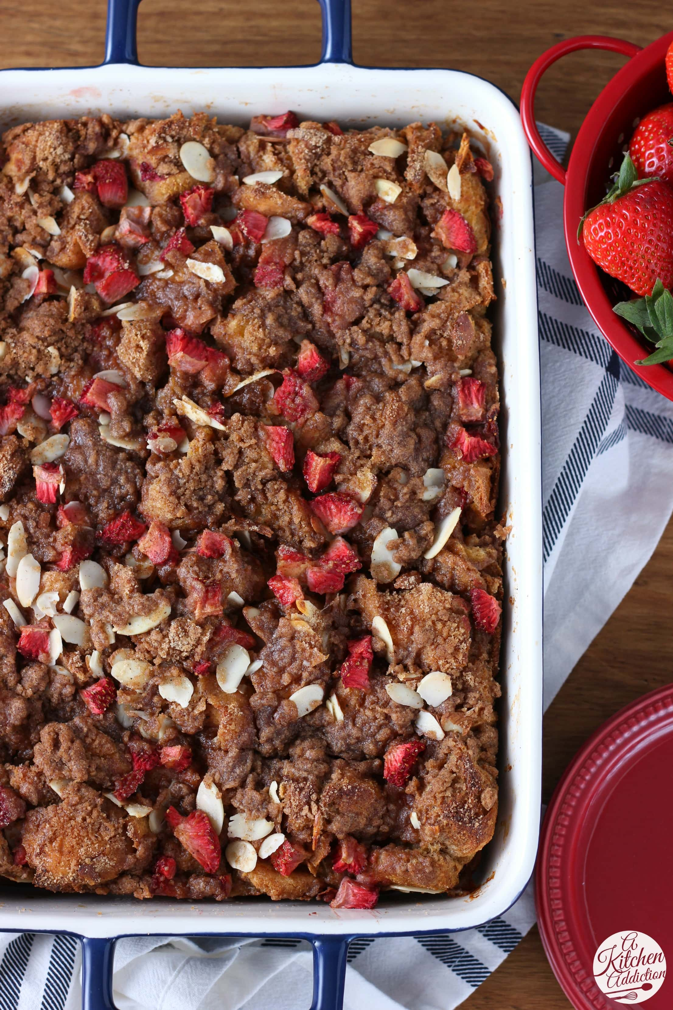 Strawberry Honey Almond French Toast Bake Recipe from A Kitchen Addiction
