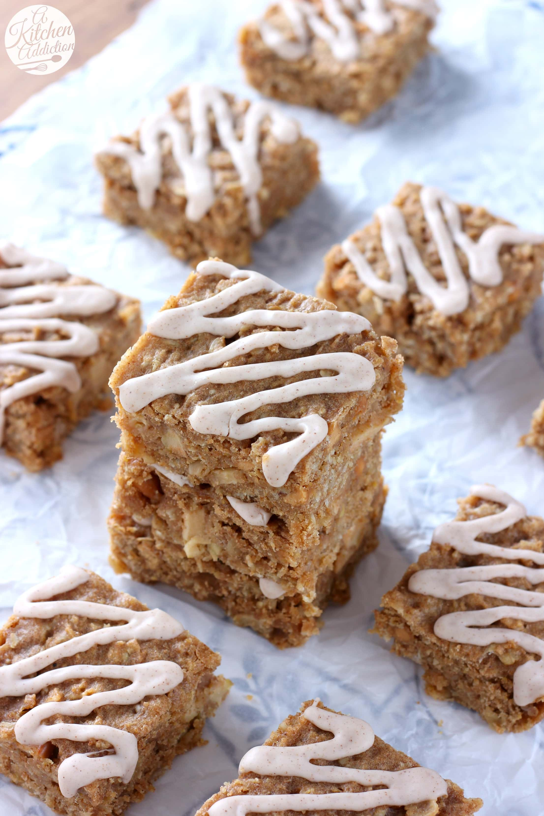 Soft Baked Apple Peanut Butter Breakfast Bars Recipe from A Kitchen Addiction