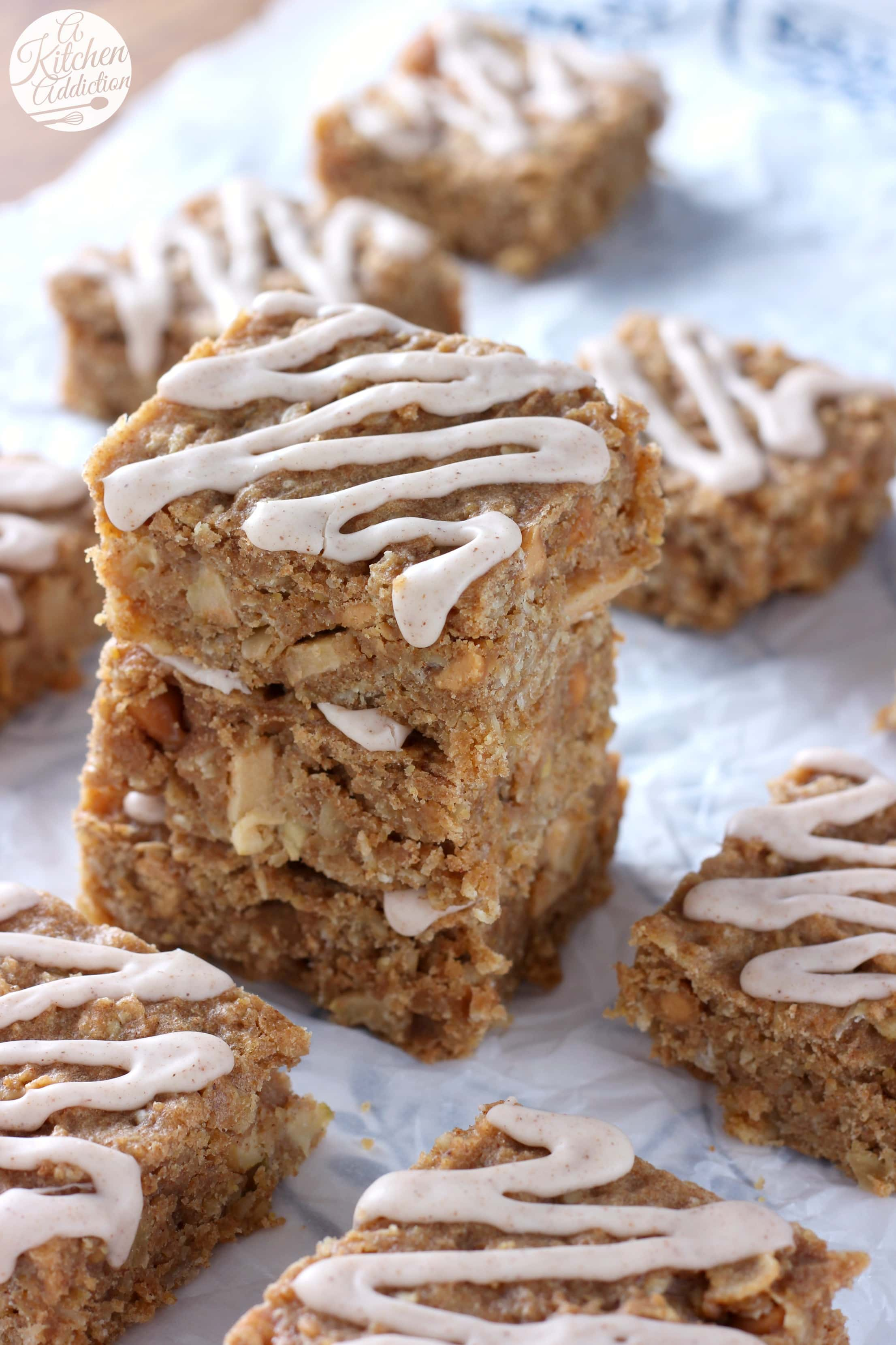 Soft Baked Apple Peanut Butter Oat Bars Recipe from A Kitchen Addiction