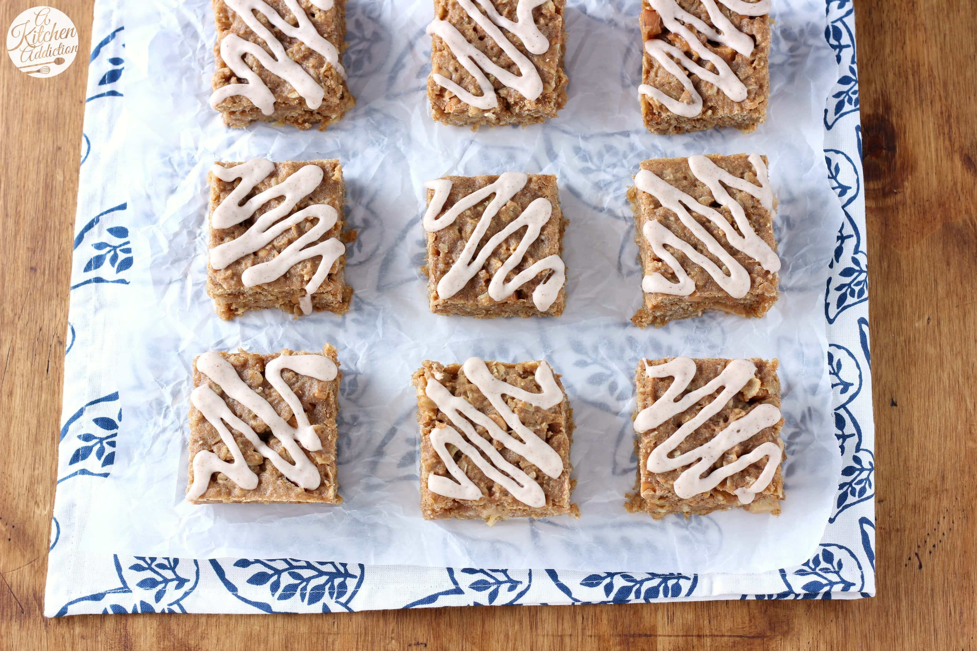 Soft Baked Apple Peanut Butter Oatmeal Bars Recipe from A Kitchen Addiction