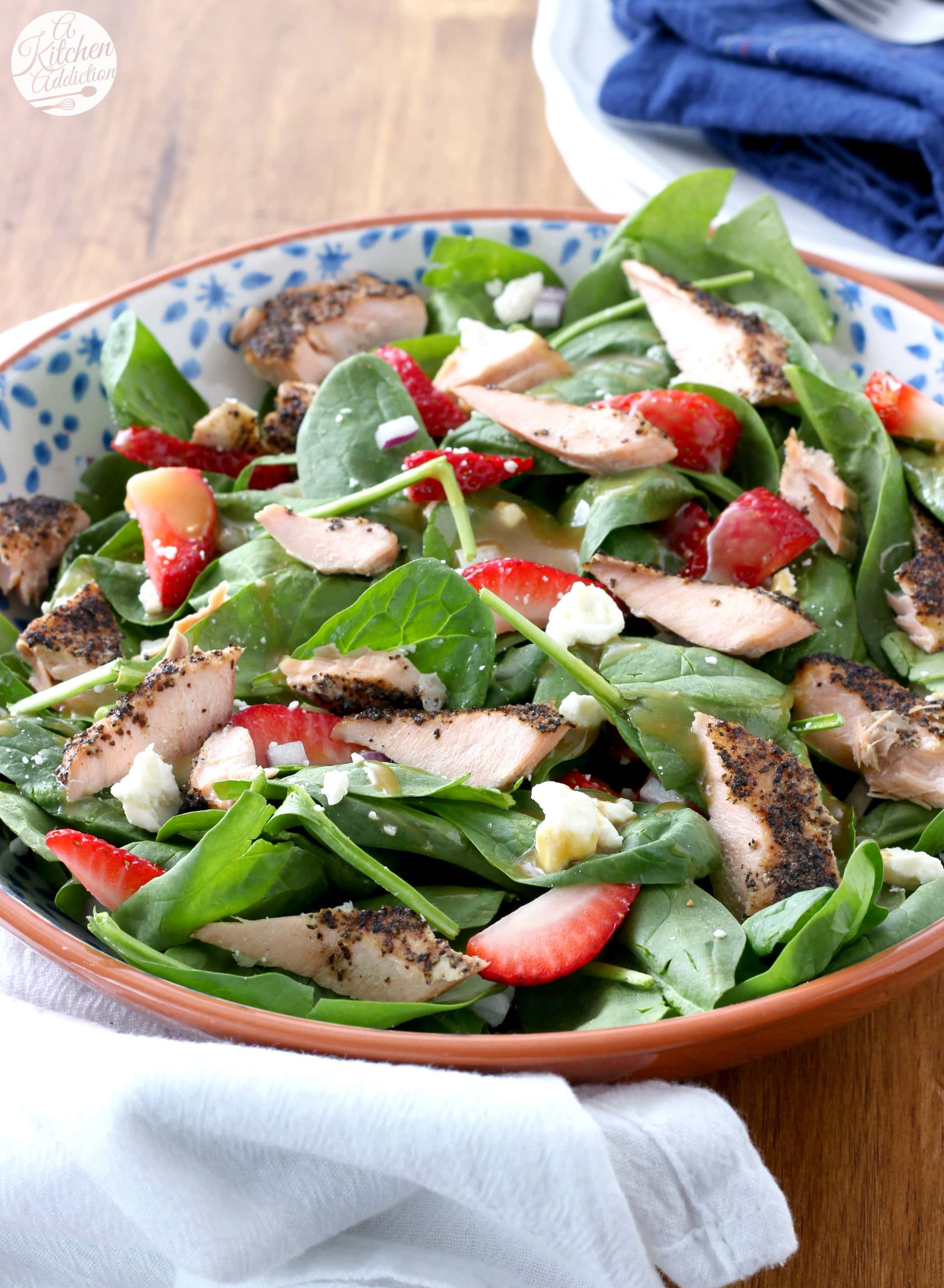 25 Minute Baked Salmon Strawberry Spinach Salad with Honey Dijon Vinaigrette Recipe from A Kitchen Addiction