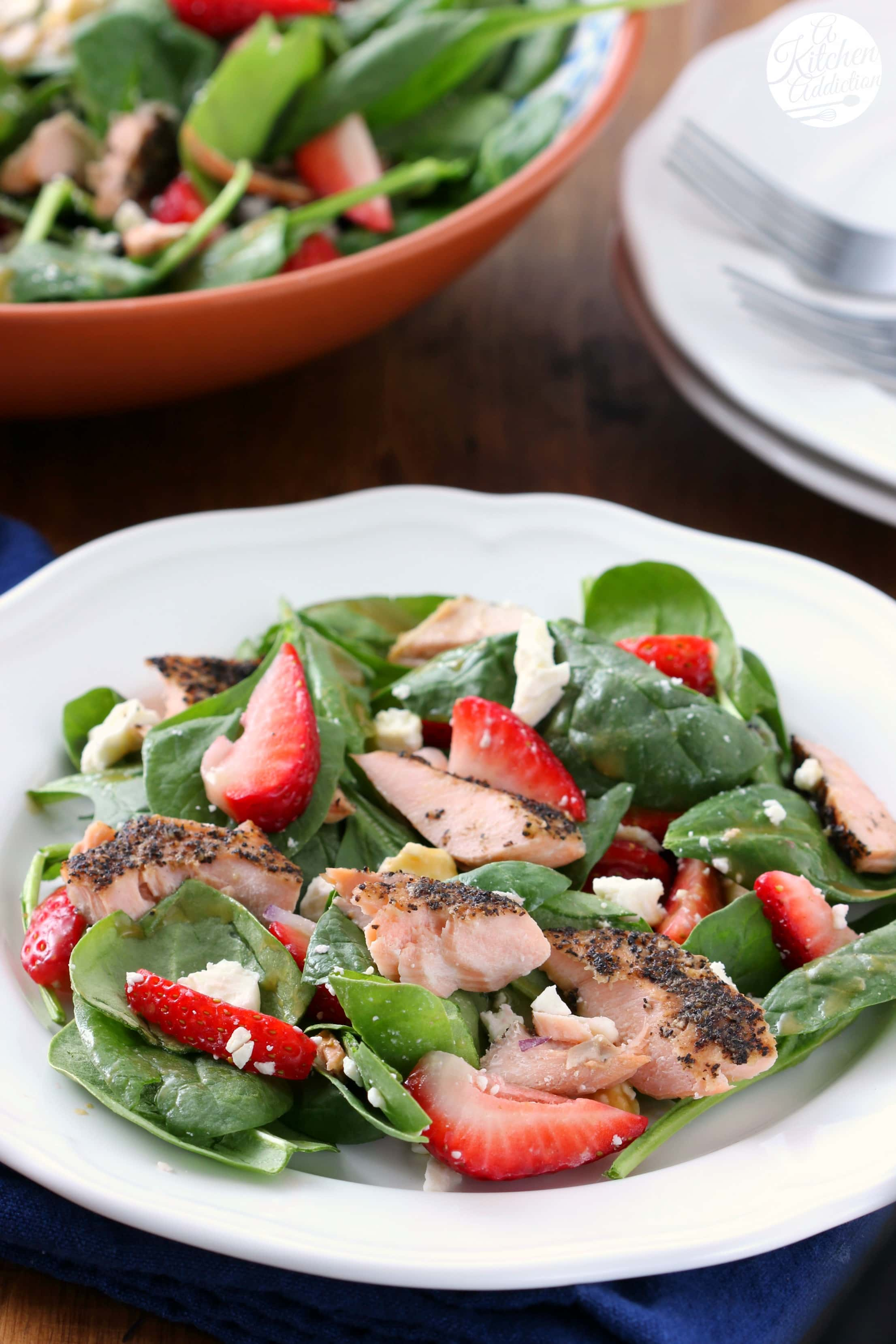 Easy Baked Salmon Strawberry Spinach Salad Recipe from A Kitchen Addiction