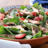 Baked Salmon Strawberry Spinach Salad with Honey Dijon Vinaigrette Recipe from A Kitchen Addiction