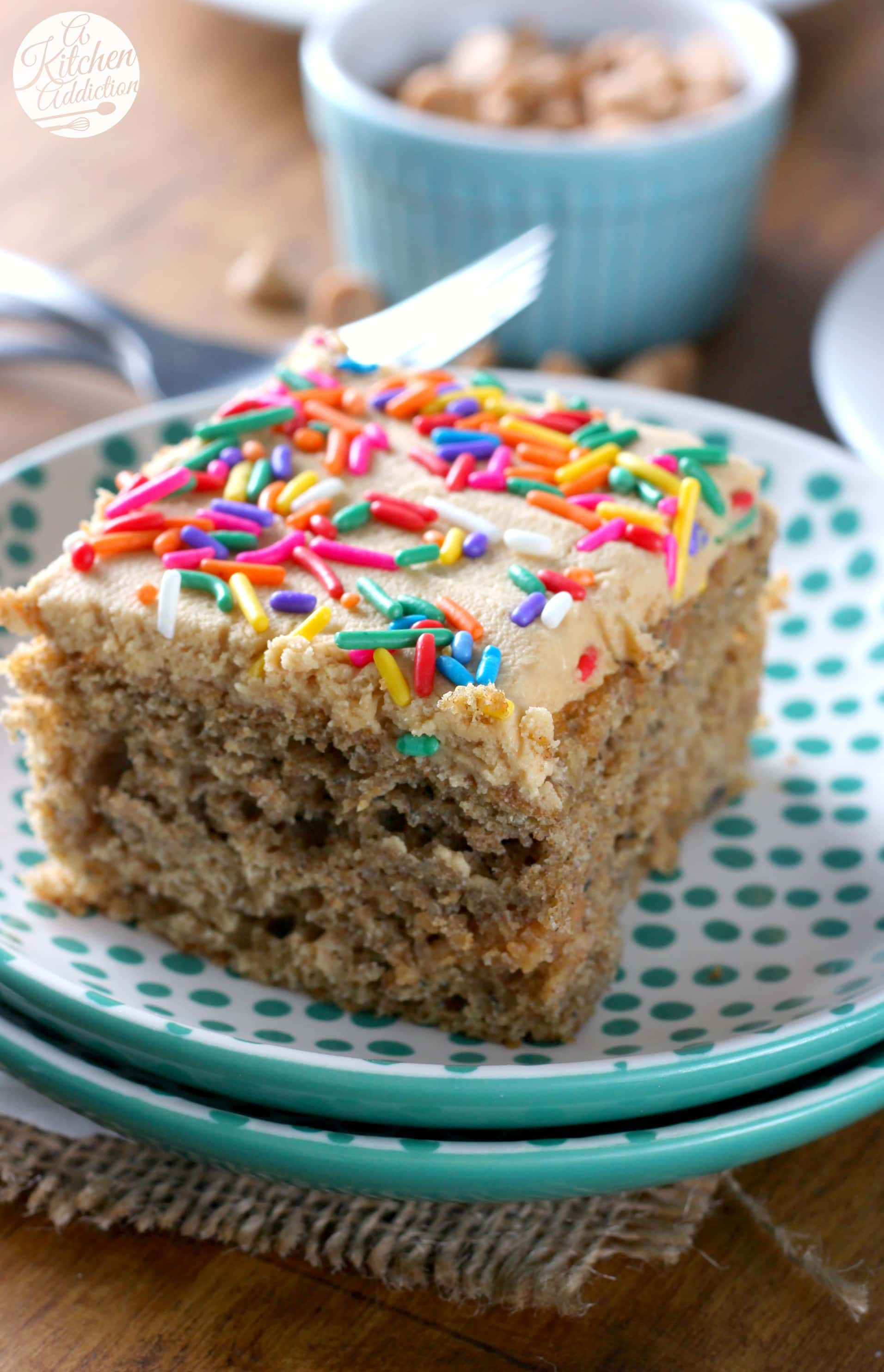 Banana Snack Cake with Peanut Butter Frosting Recipe from A Kitchen Addiction