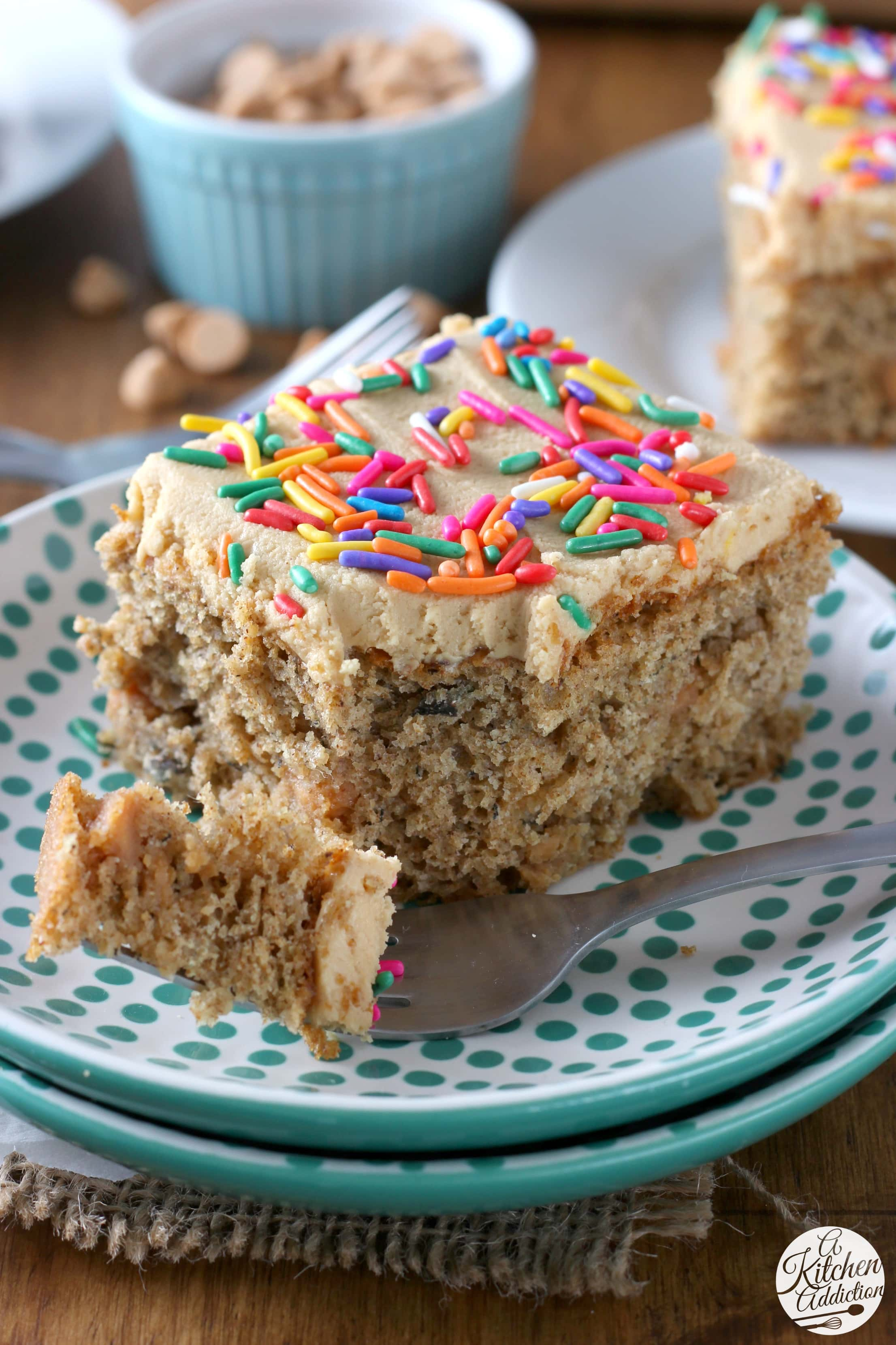 Banana Cake with Peanut Butter Frosting Recipe from A Kitchen Addiction