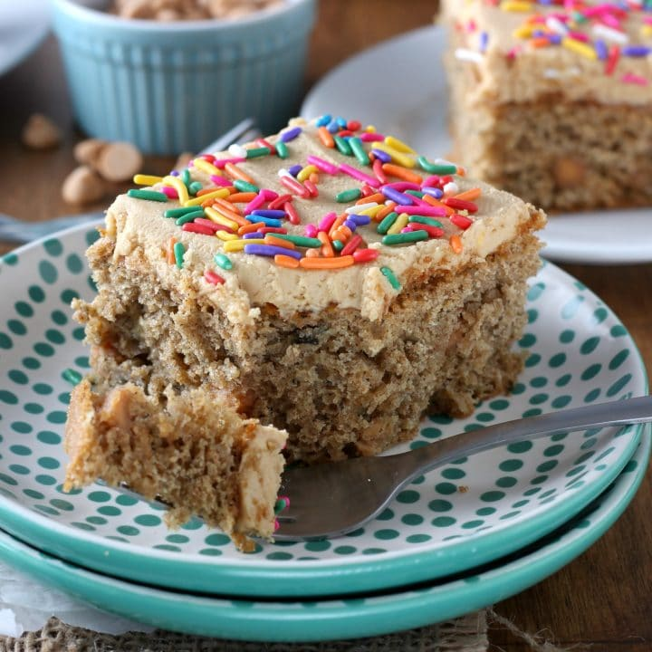 Easy Banana Cake with Peanut Butter Frosting Recipe from A Kitchen Addiction