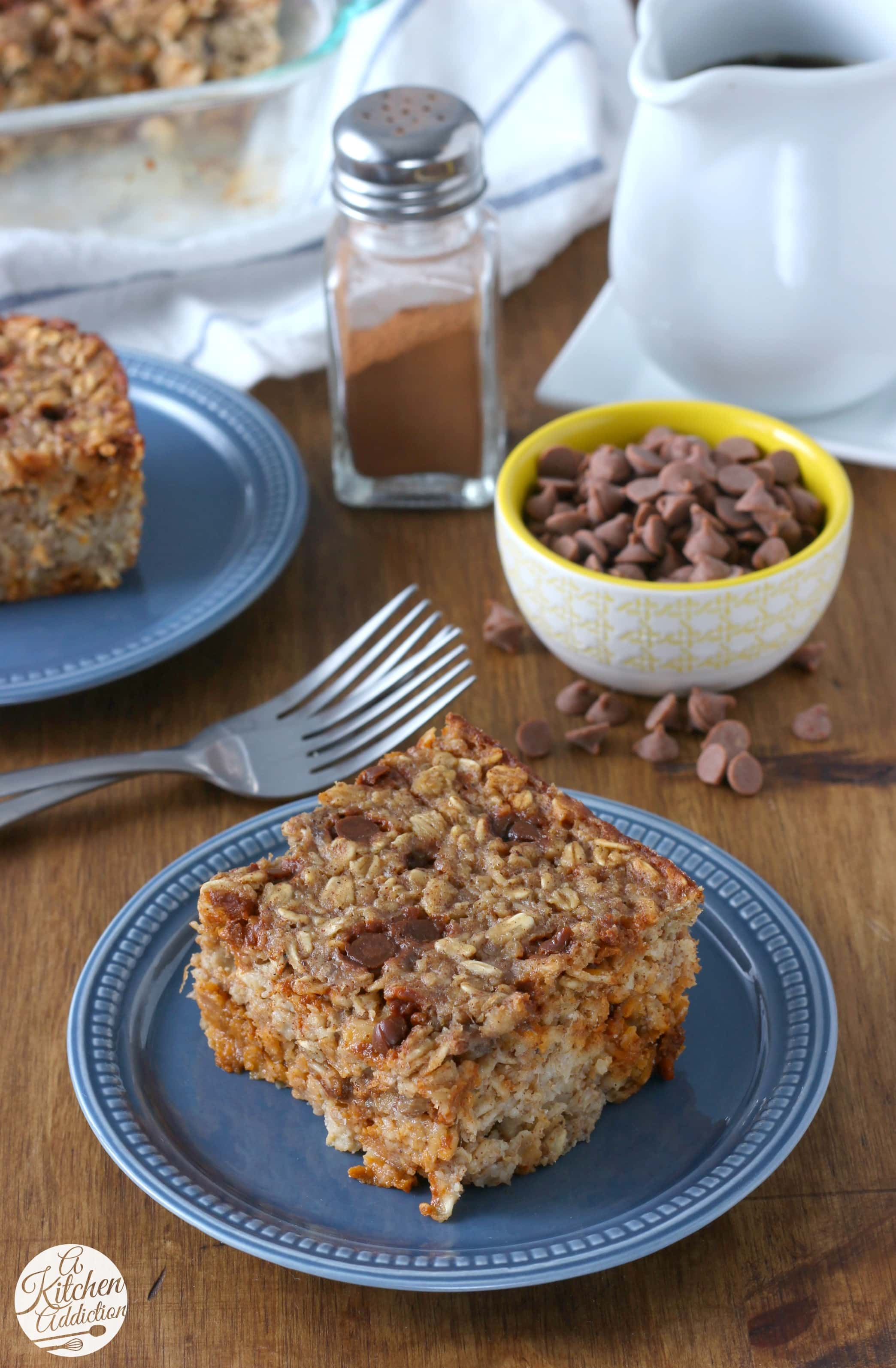 Easy Cinnamon Chip Banana Bread Baked Oatmeal Recipe from A Kitchen Addiction