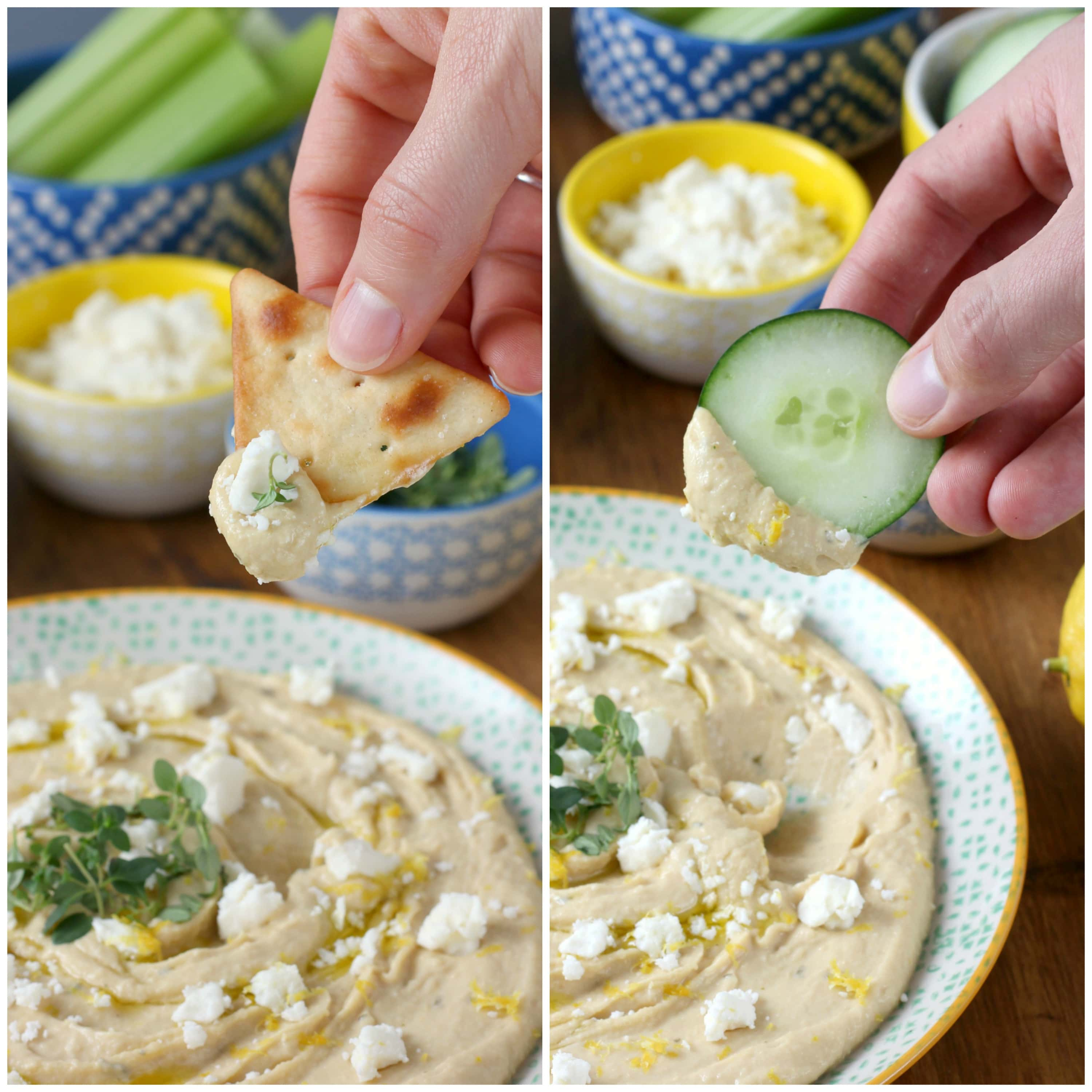 Lemon Thyme Hummus with Feta for a quick snack