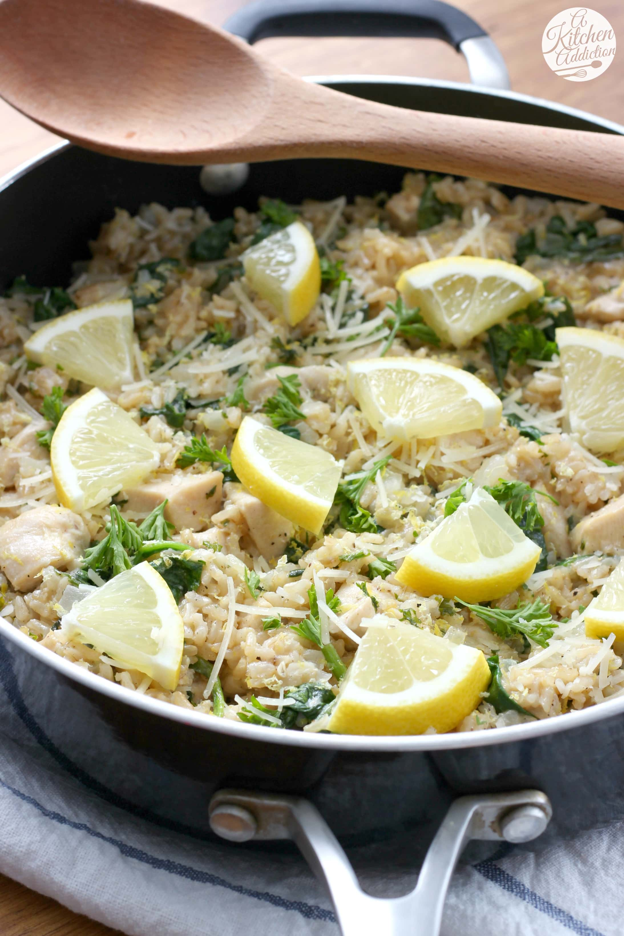 20 Minute Lemon Parmesan Chicken and Rice Skillet Recipe from A Kitchen Addiction