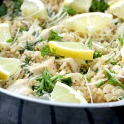 Lemon Parmesan Chicken and Rice Skillet Meal Recipe from A Kitchen Addiction