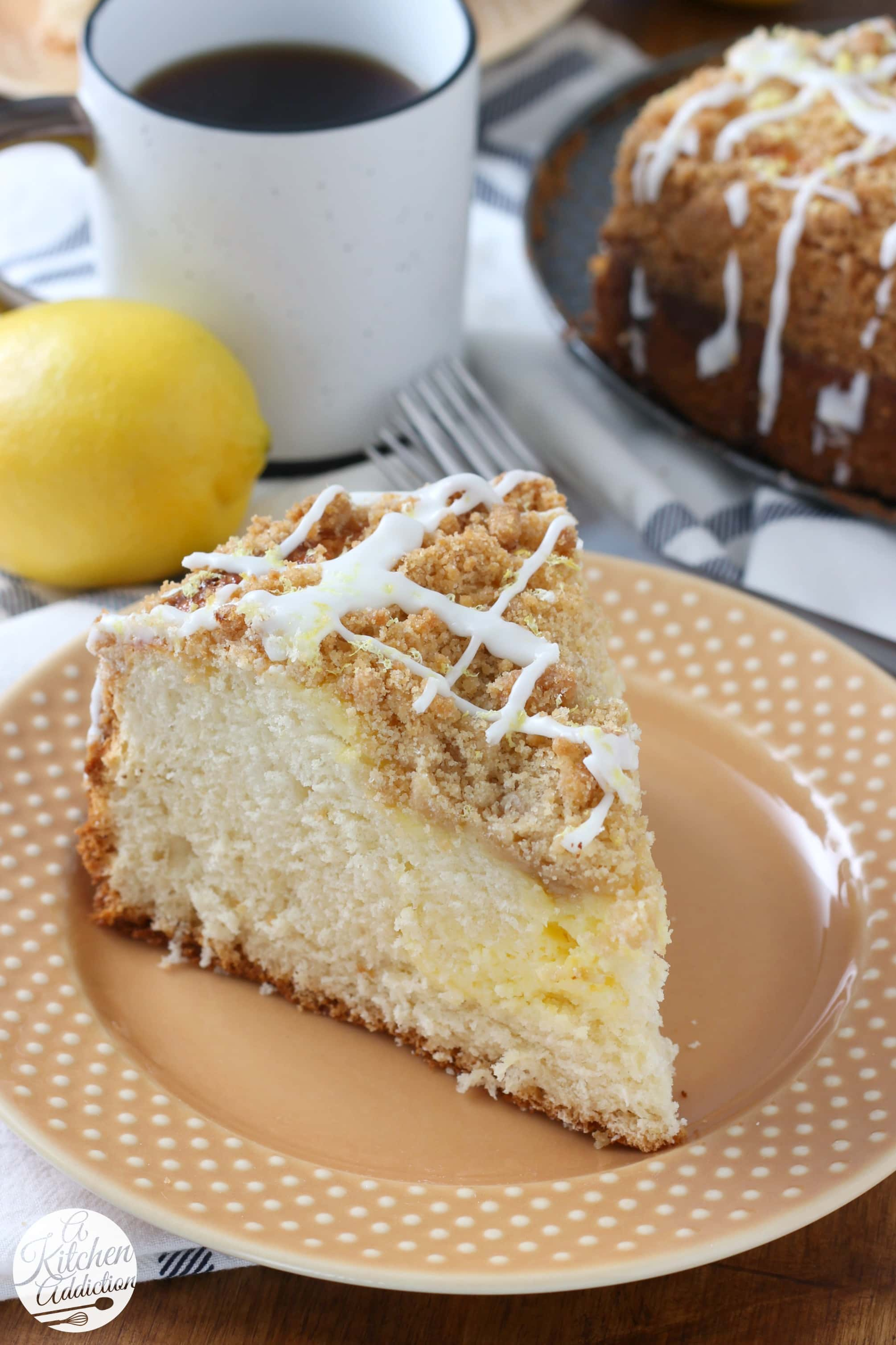 Cream Cheese Swirled Lemon Coffee Cake Recipe from A Kitchen Addiction