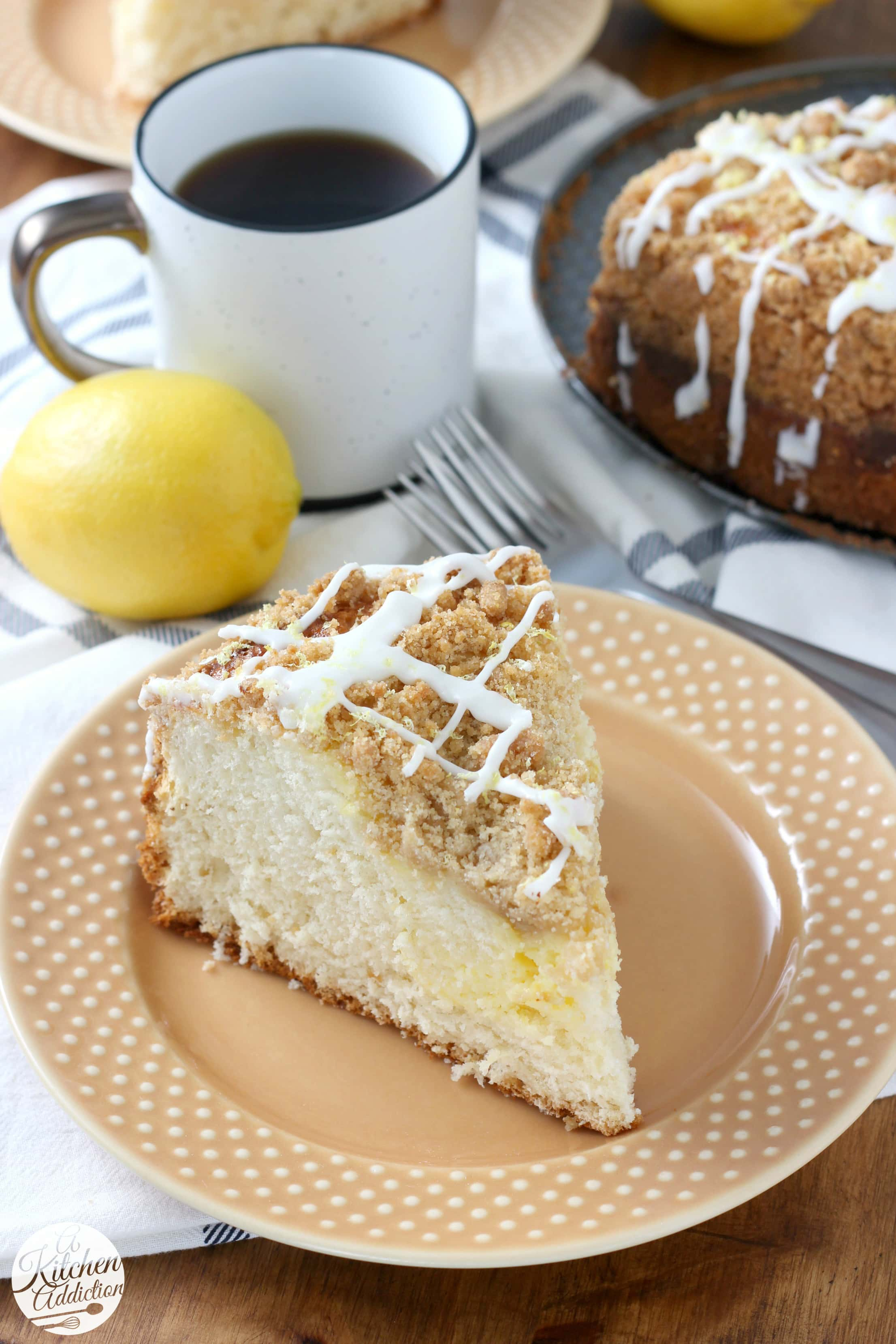 Lemon Coffee Cake with Cream Cheese Swirl Recipe from A Kitchen Addiction