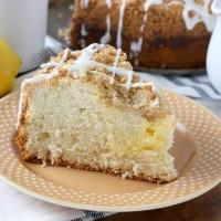 Cream Cheese Swirled Lemon Coffee Cake Recipe from A Kitchen Addiction