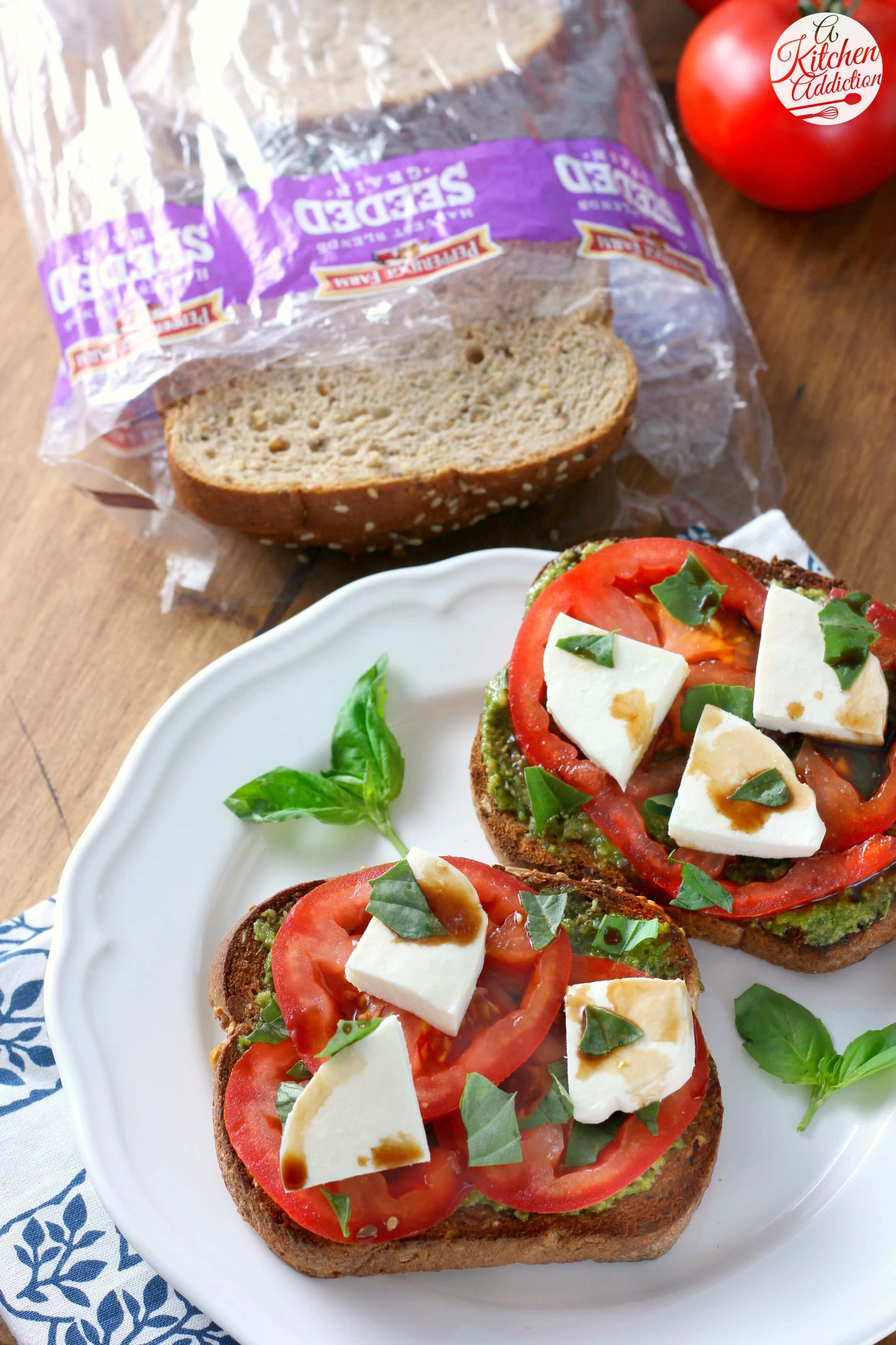 Quick and Easy Pesto Caprese Toast Recipe from A Kitchen Addiction