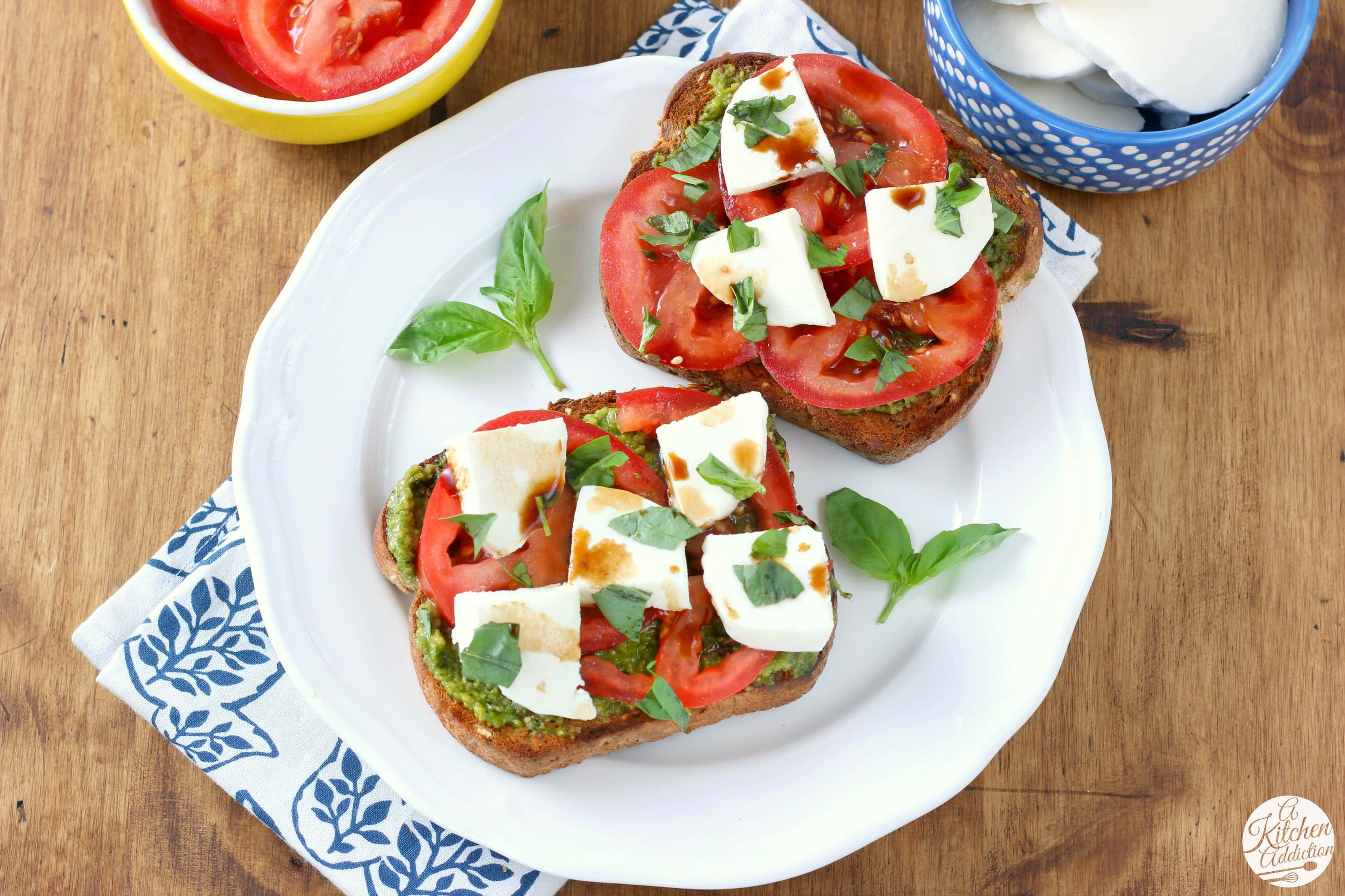 Pesto Caprese Toast Recipe from A Kitchen Addiction