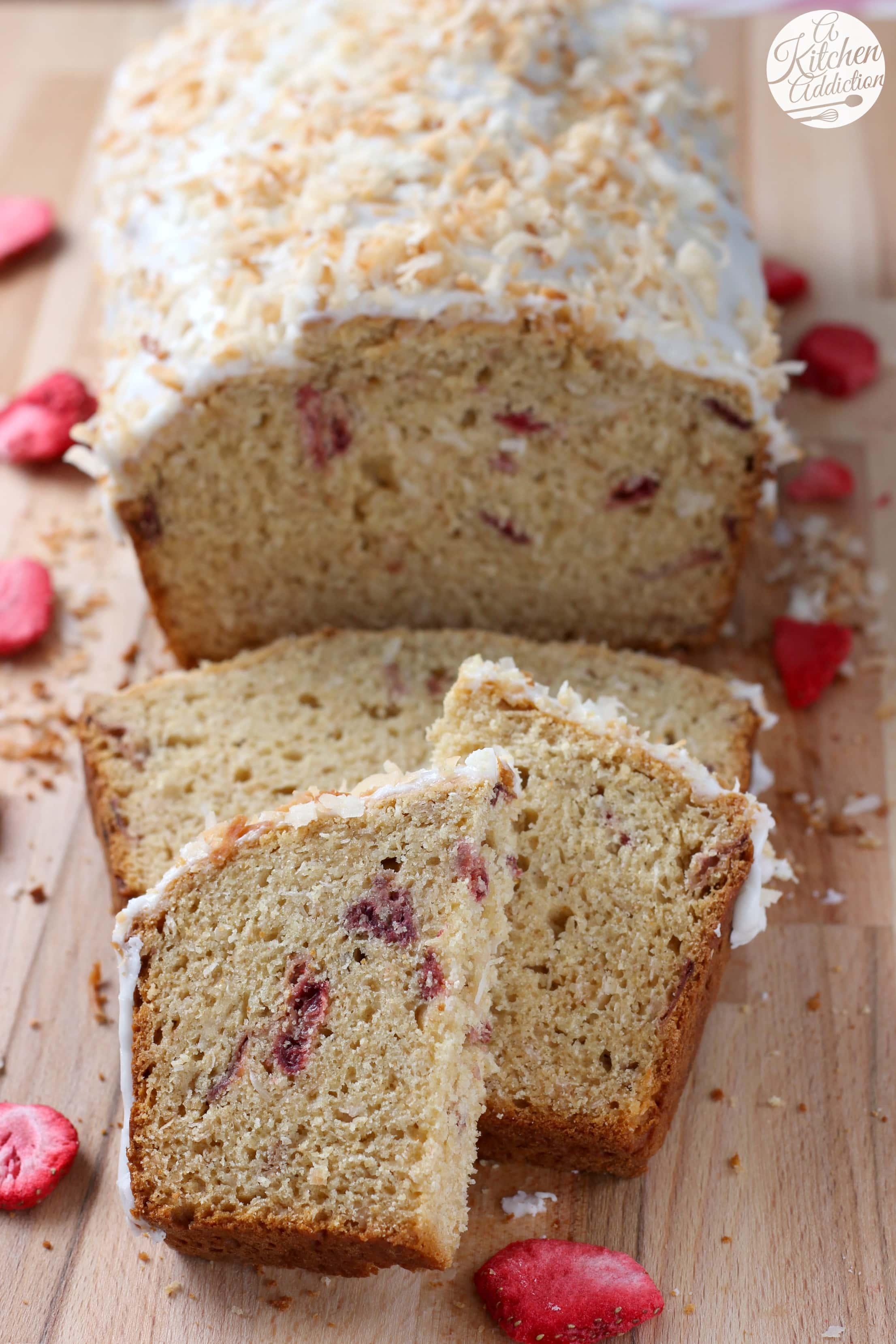 Strawberry Coconut Yogurt Quick Bread Recipe from A Kitchen Addiction