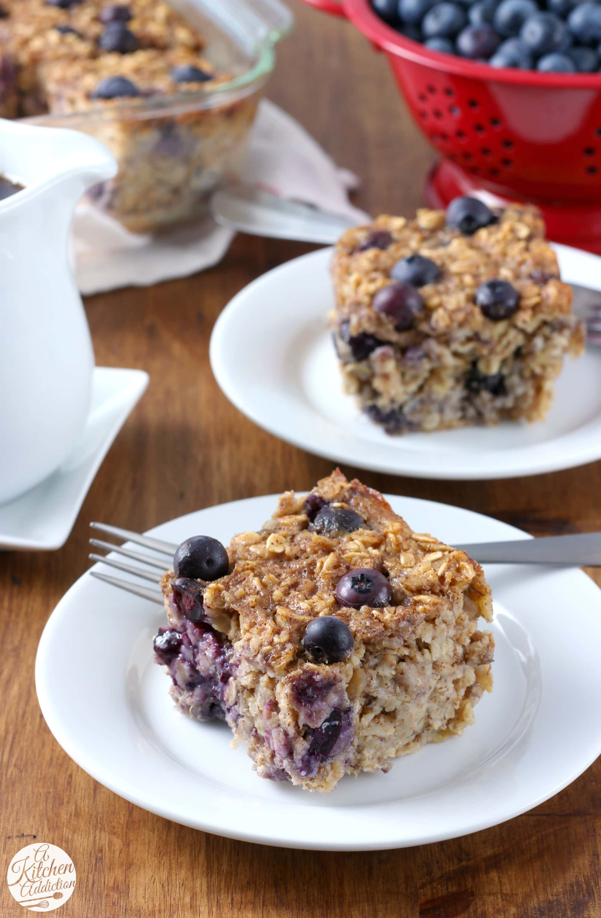 Hearty Blueberry Banana Bread Baked Oatmeal Recipe from A Kitchen Addiction