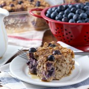 Blueberry Banana Bread Baked Oatmeal Recipe from A Kitchen Addiction