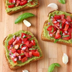 Easy Bruschetta Guacamole Toast Recipe from A Kitchen Addiction