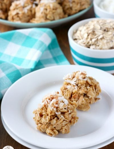 Lightened Up Toasted Coconut Peanut Butter No Bake Cookies Recipe from A Kitchen Addiction