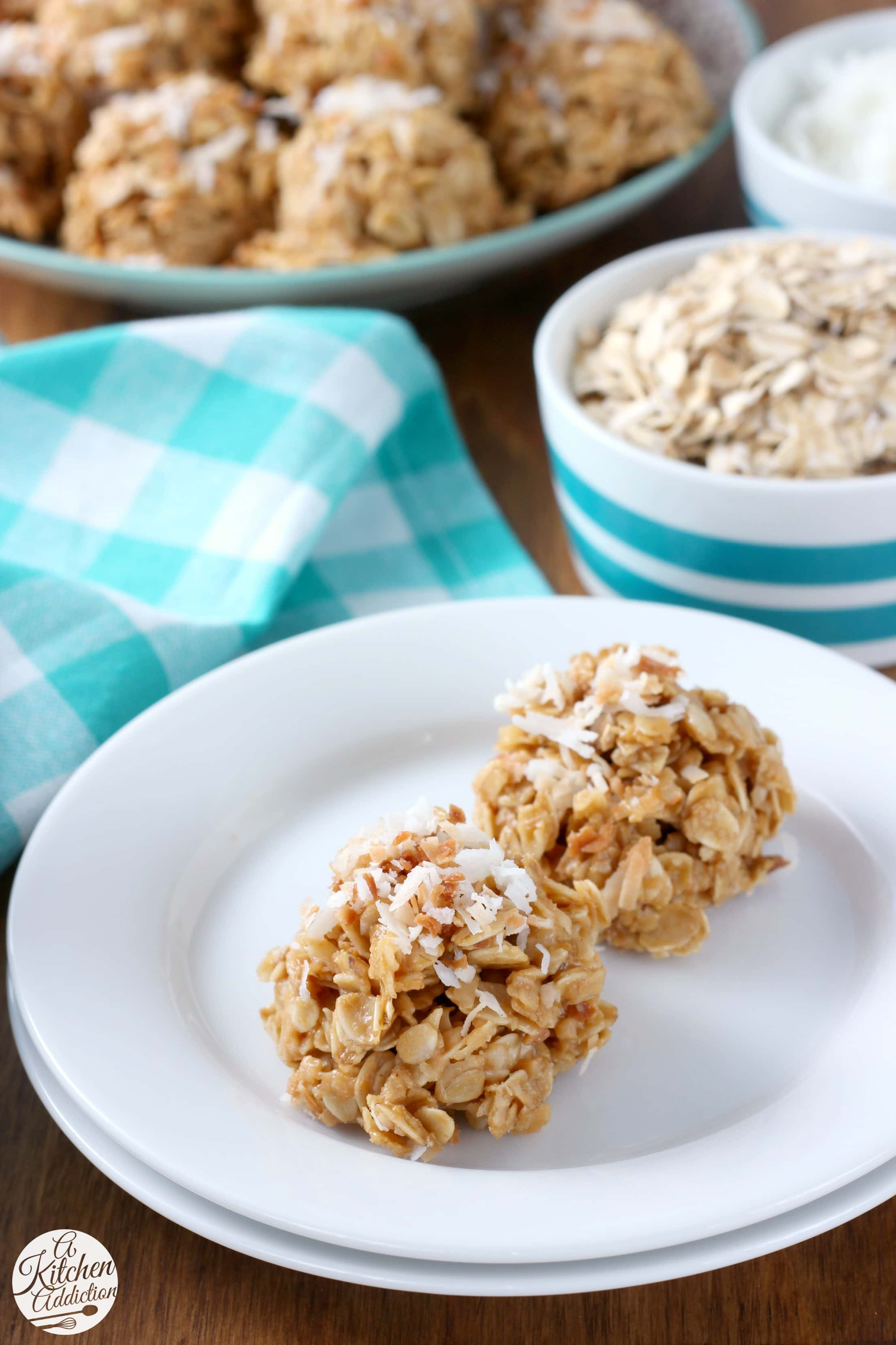 Lightened Up Coconut Peanut Butter No Bake Cookies - A Kitchen Addiction