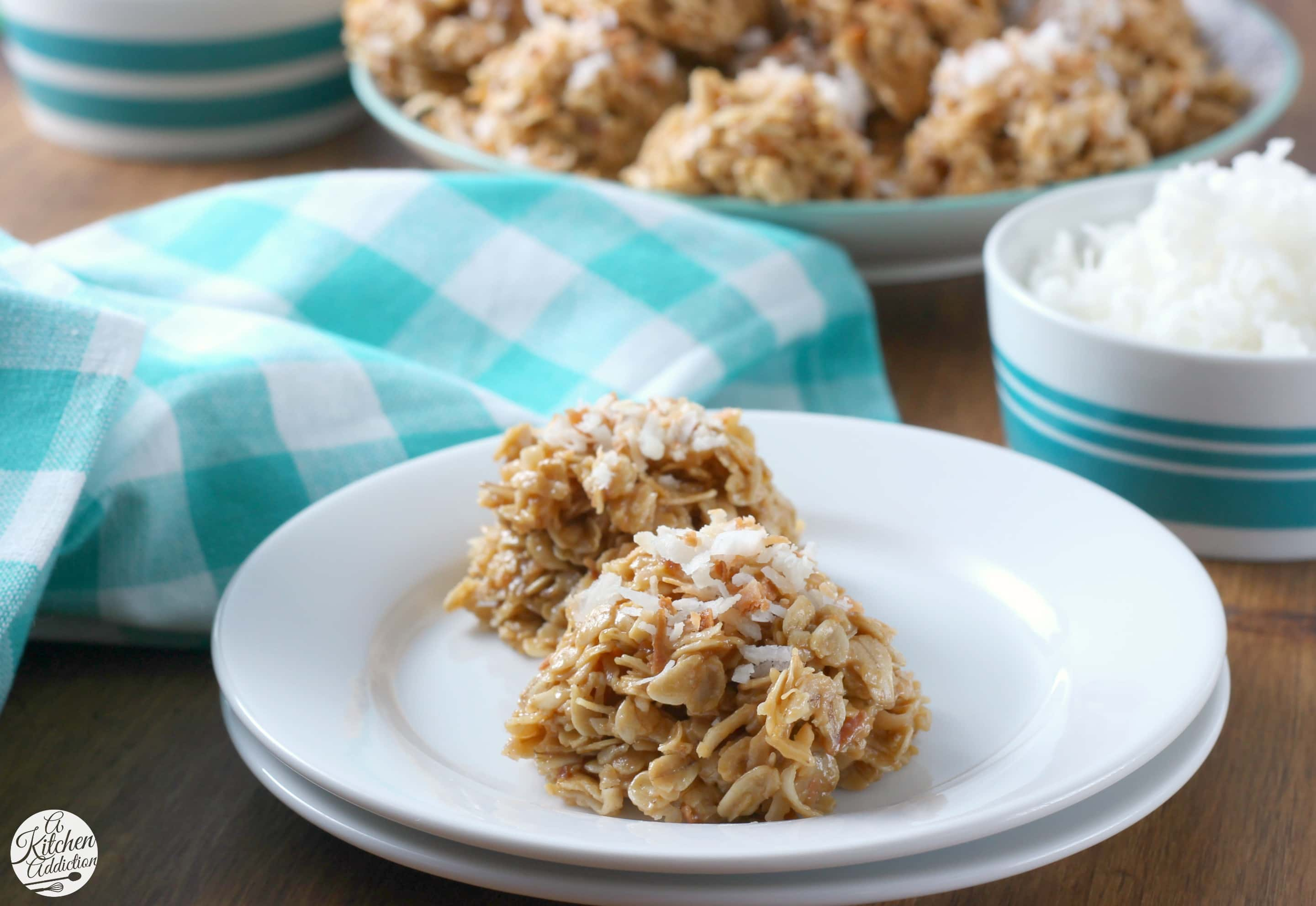 Lightened Up Coconut Peanut Butter No Bake Cookies Recipe from A Kitchen Addiction