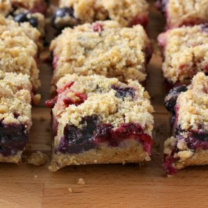 Strawberry Blueberry Crumb Bars Recipe from A Kitchen Addiction