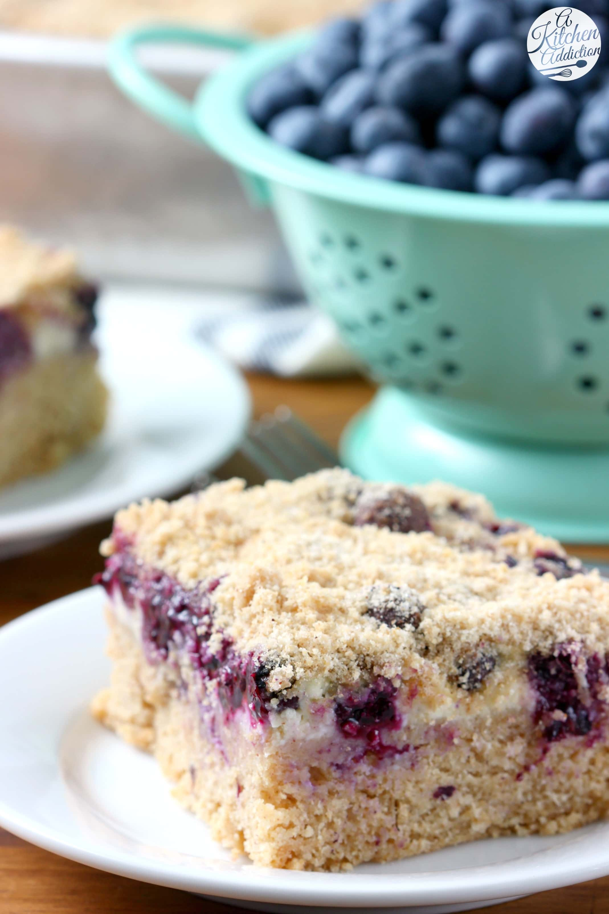 Blueberries and Cream Cheese Coffee Cake Recipe from A Kitchen Addiction