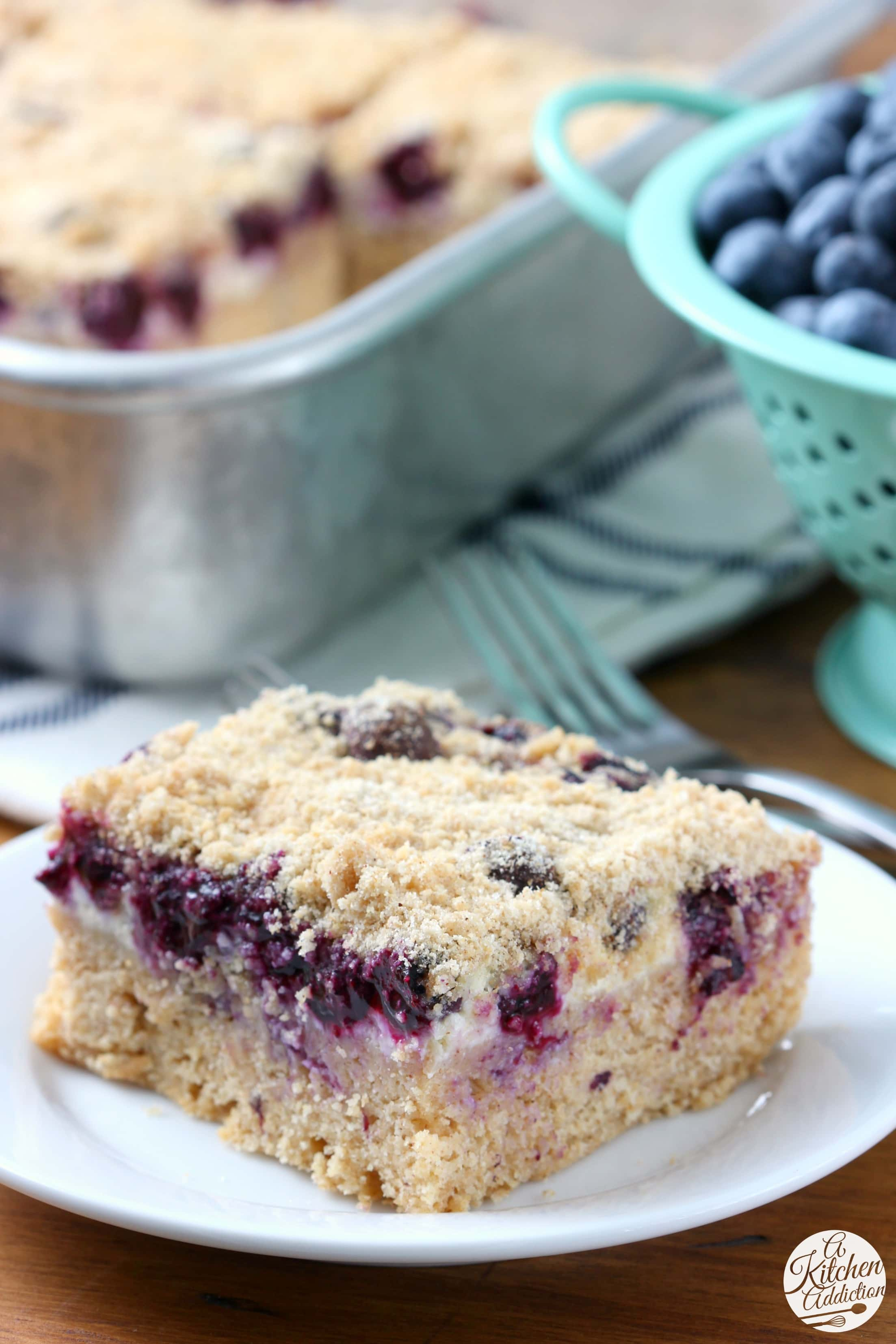 Easy Blueberries and Cream Cheese Coffee Cake Recipe from A Kitchen Addiction