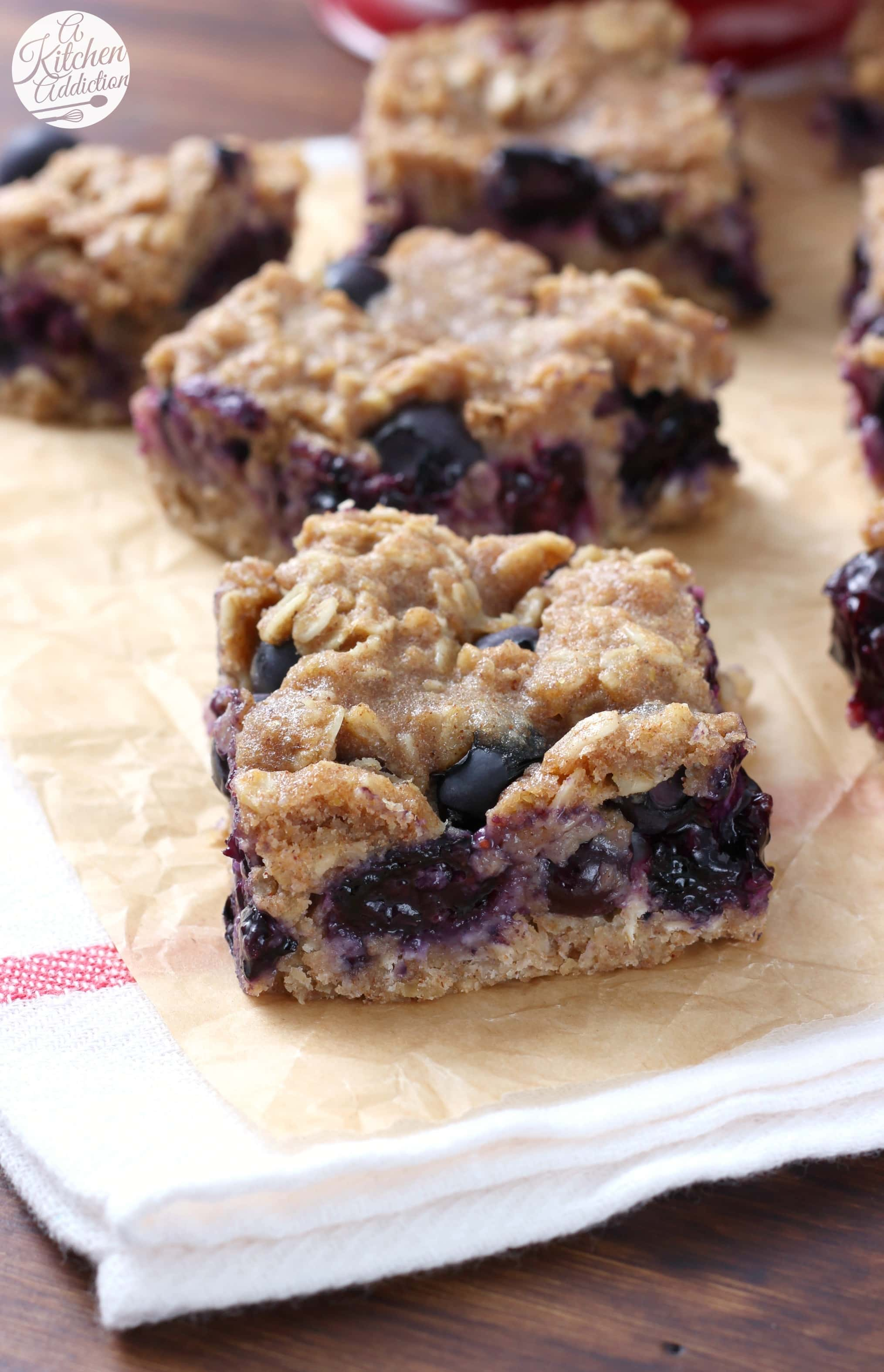 Healthy Blueberry Oat Snack Bars Recipe from A Kitchen Addiction