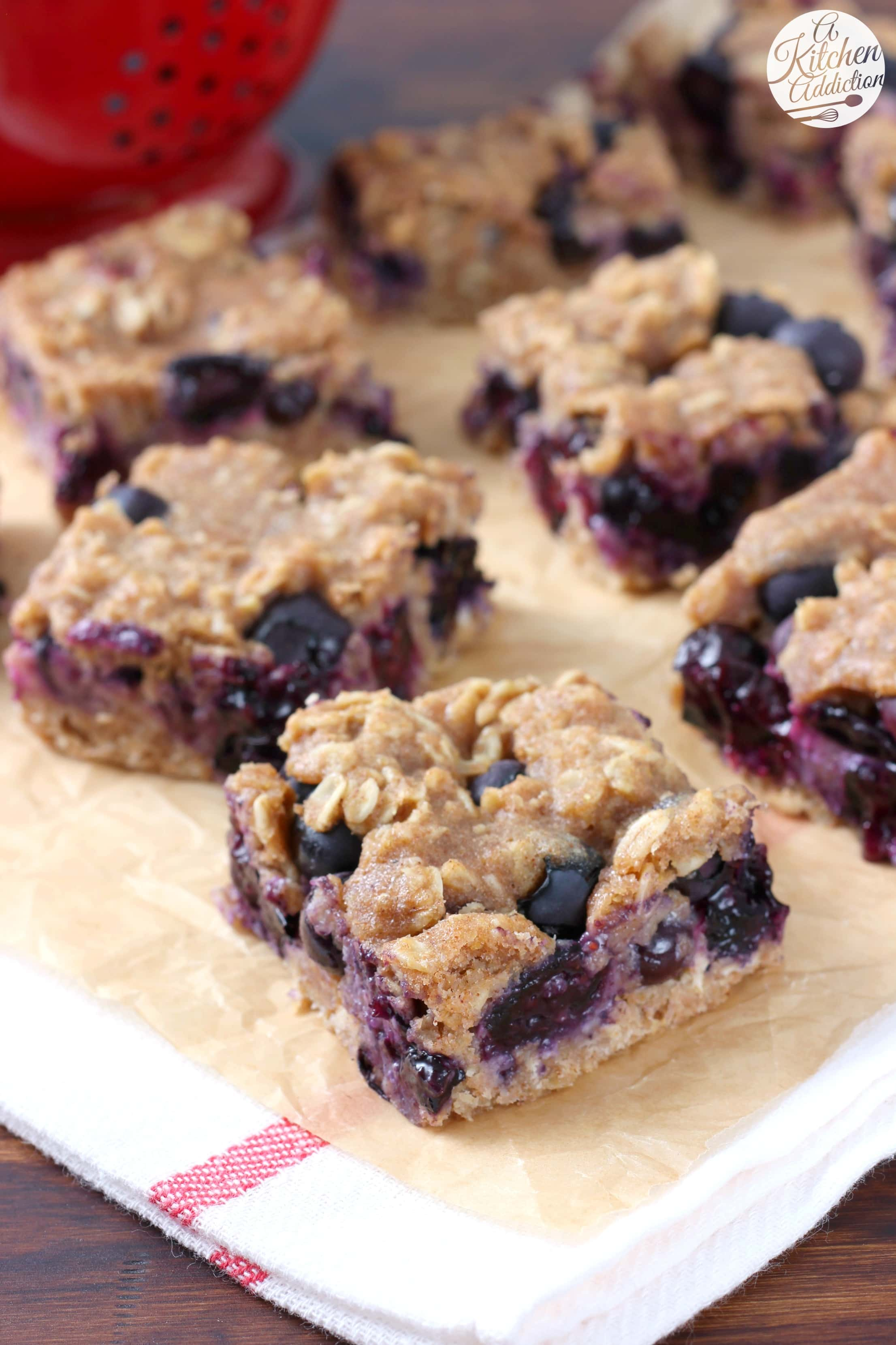 Easy Blueberry Oat Snack Bars Recipe from A Kitchen Addiction