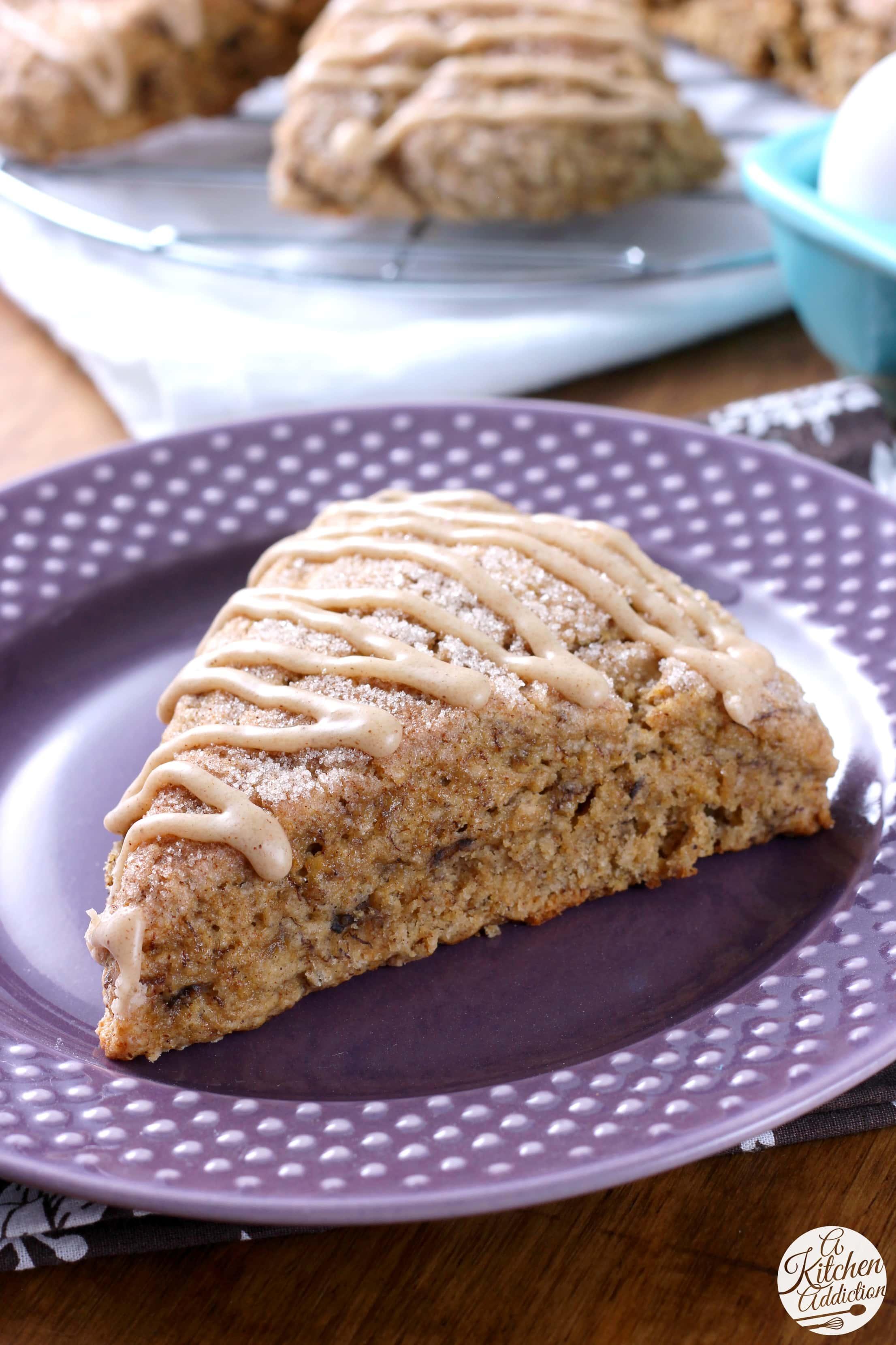 Honey Cinnamon Banana Bread Scones Recipe from A Kitchen Addiction