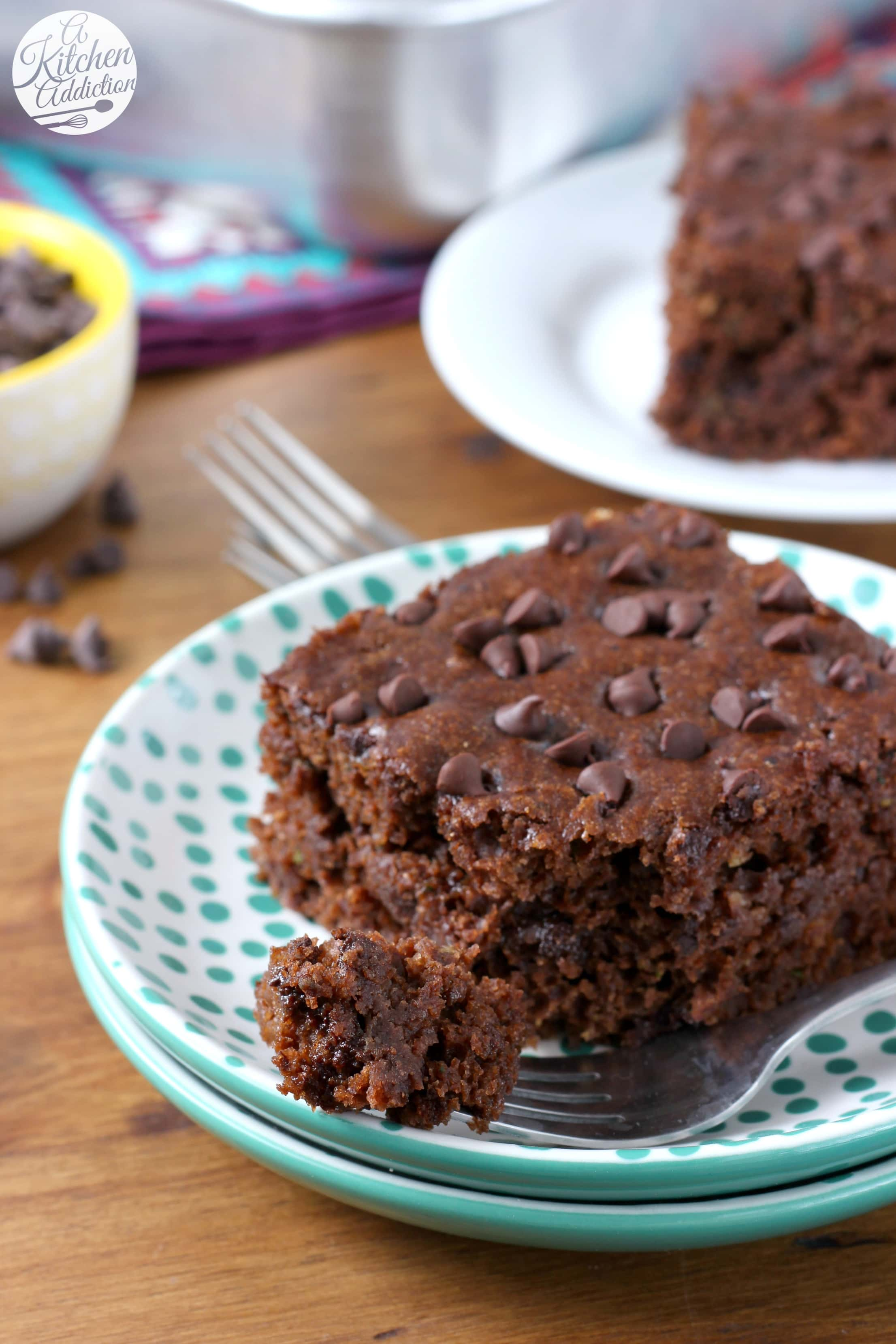 Easy Chocolate Zucchini Snack Cake Recipe from A Kitchen Addiction