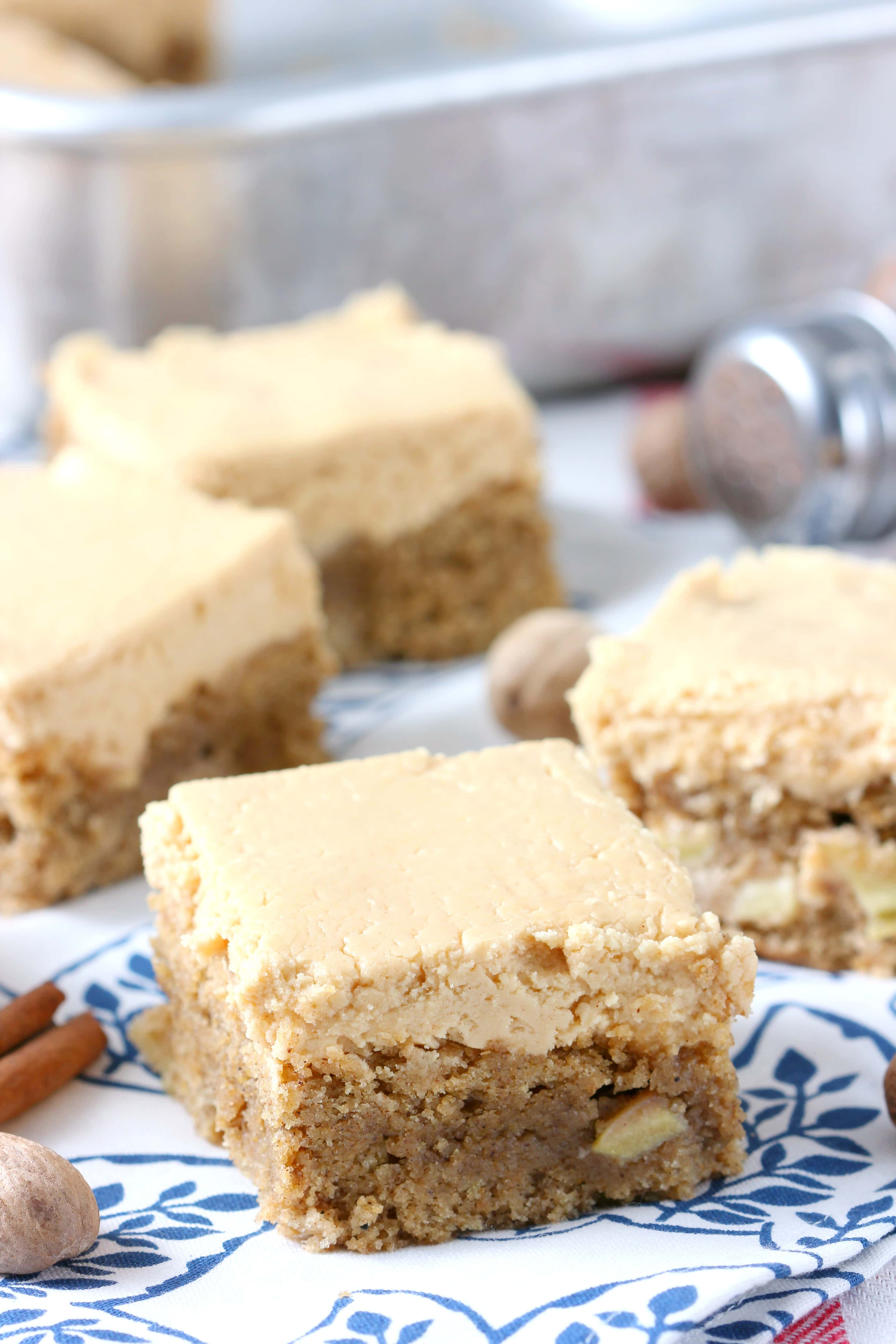 Spiced Apple Bars with Peanut Butter Buttercream Recipe from A Kitchen Addiction