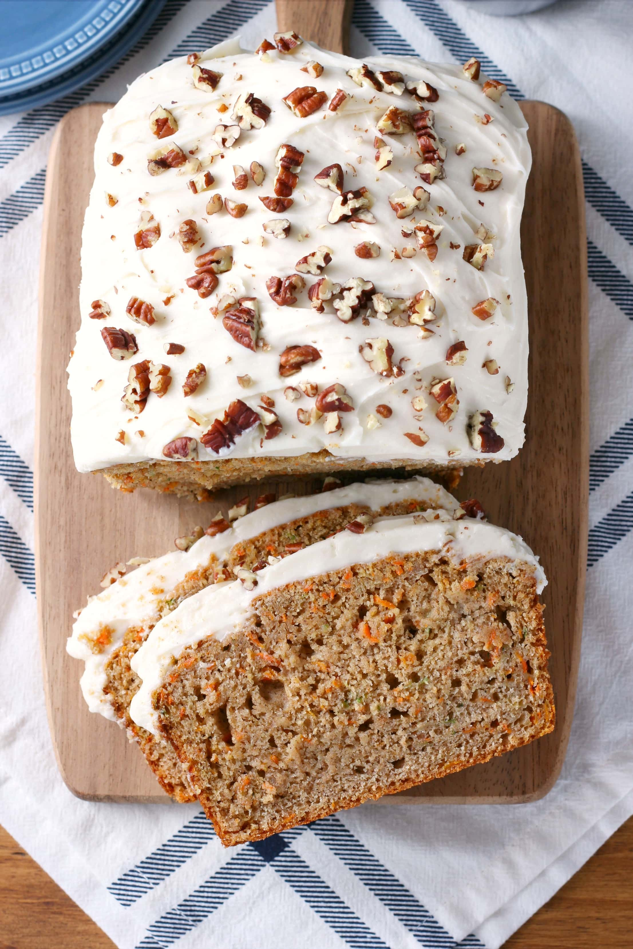 Zucchini Carrot Cake Bread with Cream Cheese Frosting Recipe from A Kitchen Addiction