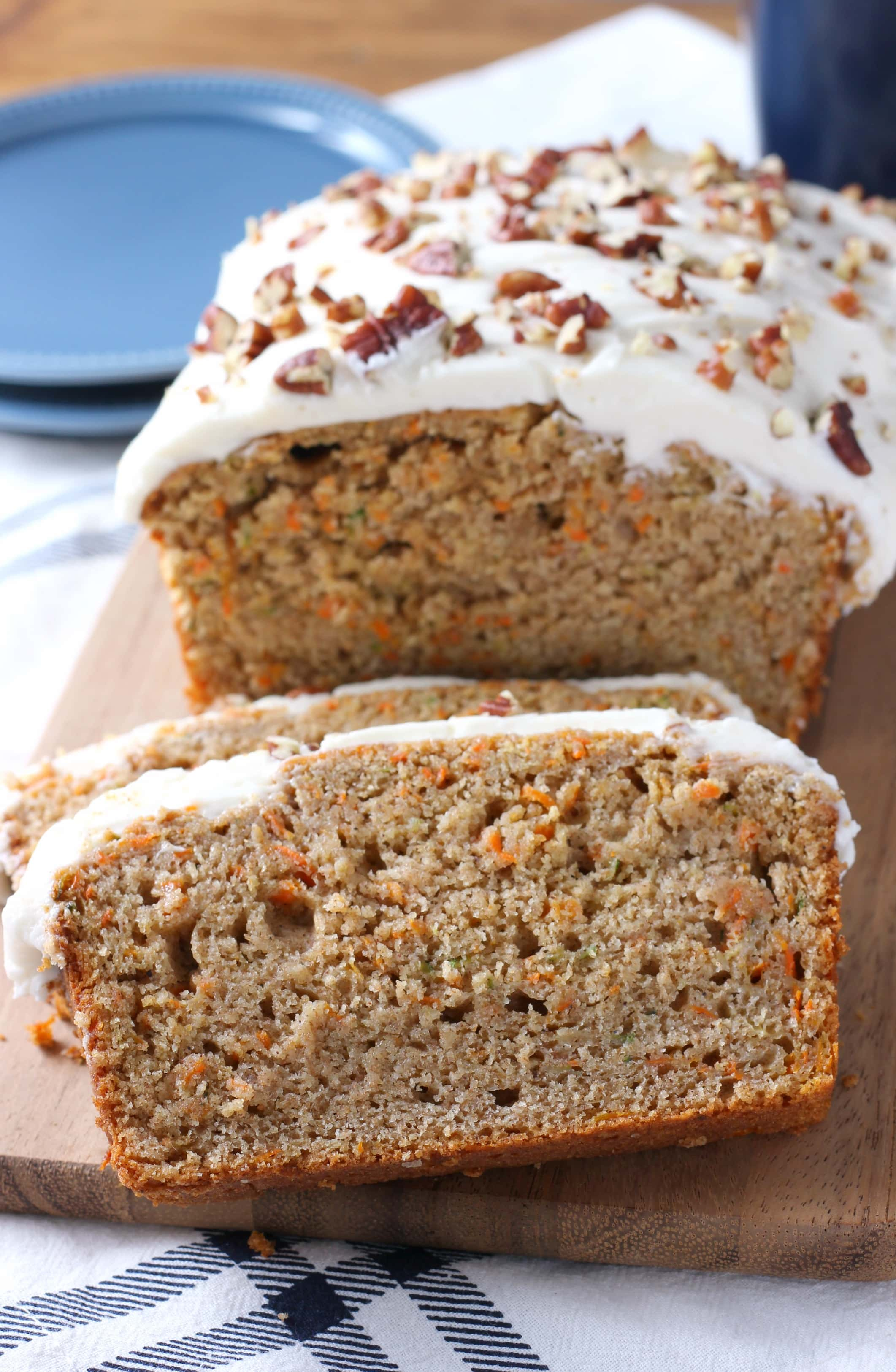 Zucchini Carrot Cake Quick Bread with Cream Cheese Frosting Recipe from A Kitchen Addiction