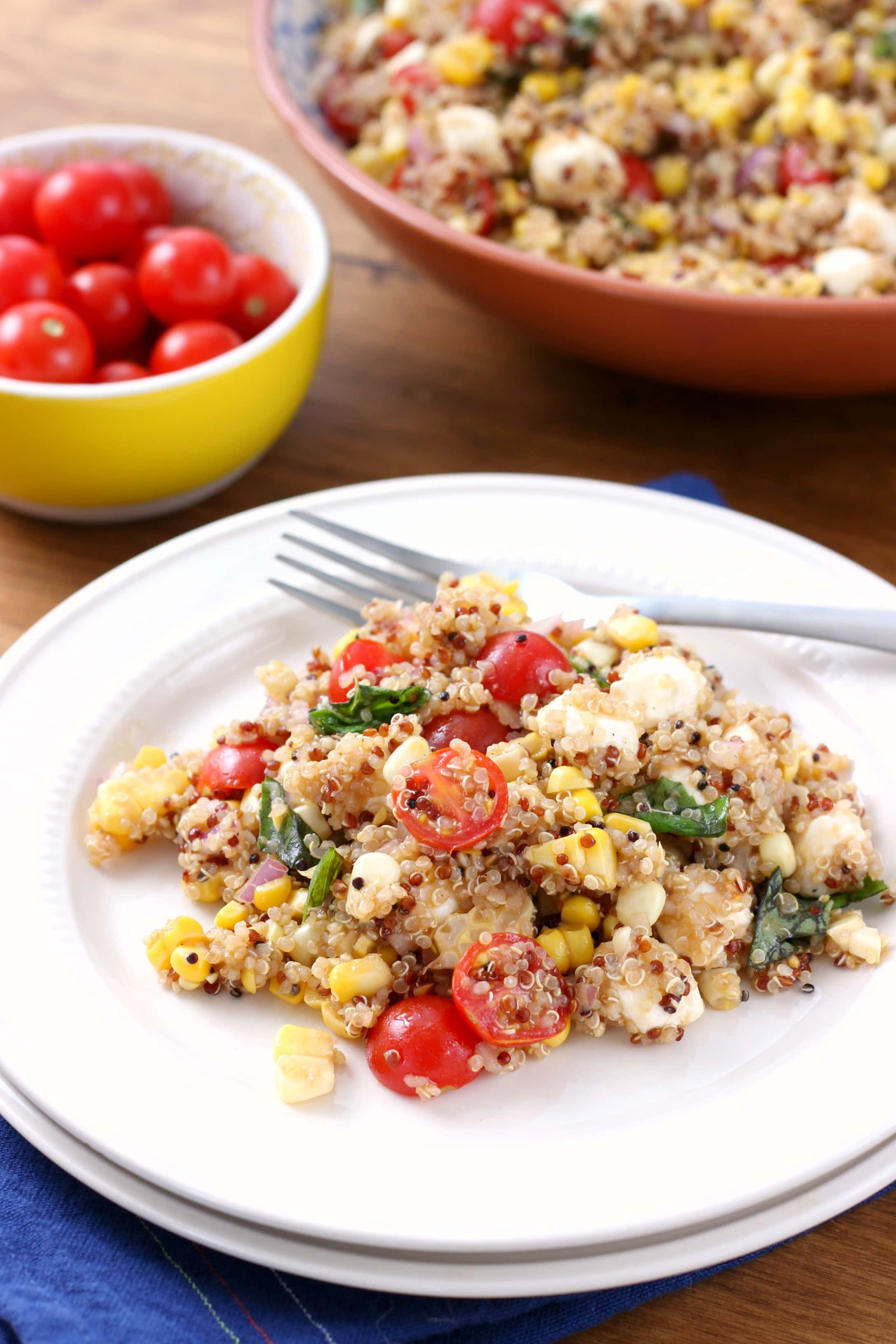 Caprese Corn Quinoa Salad Recipe from A Kitchen Addiction