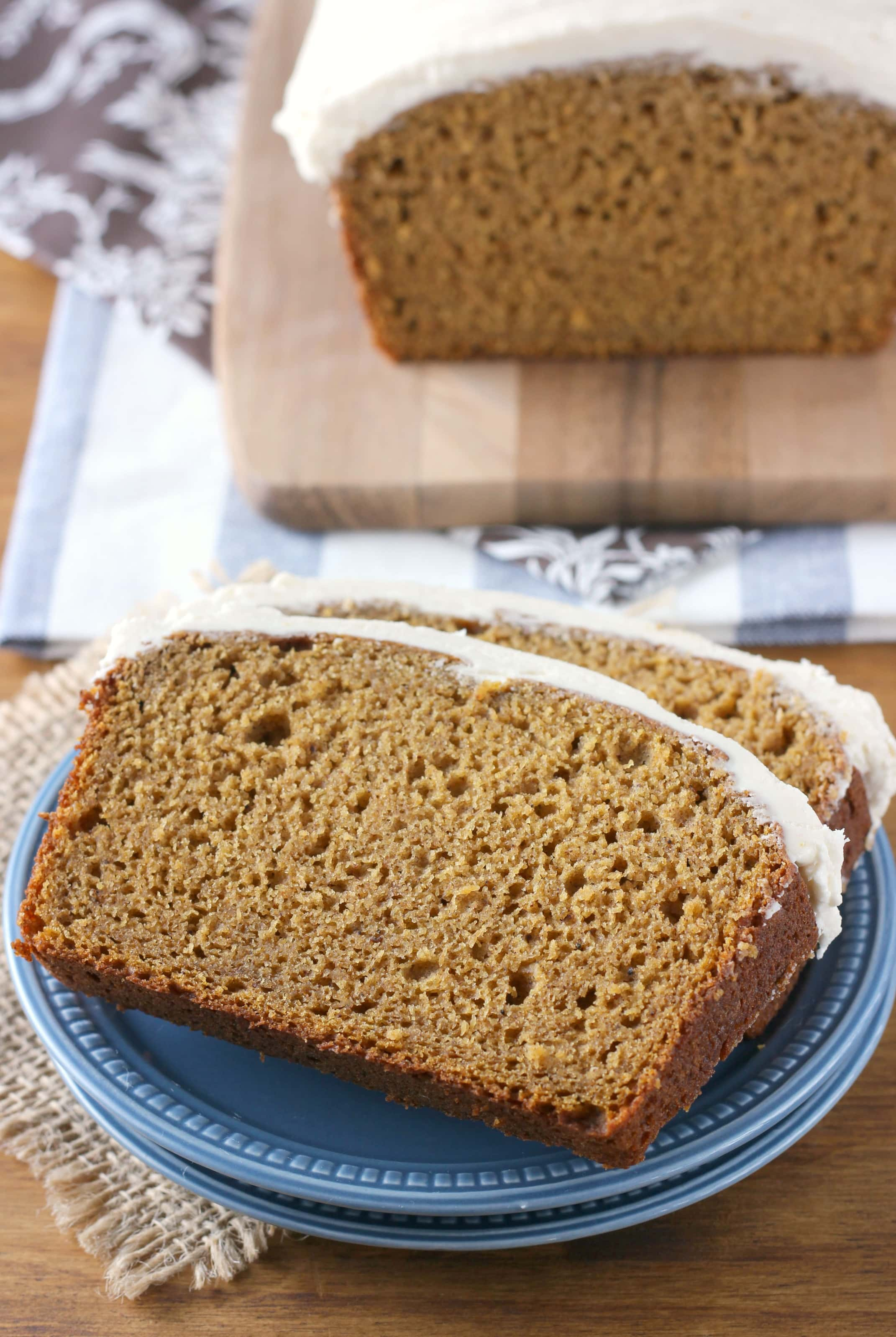 Easy Pumpkin Bread with Maple Buttercream Frosting Recipe from A Kitchen Addiction
