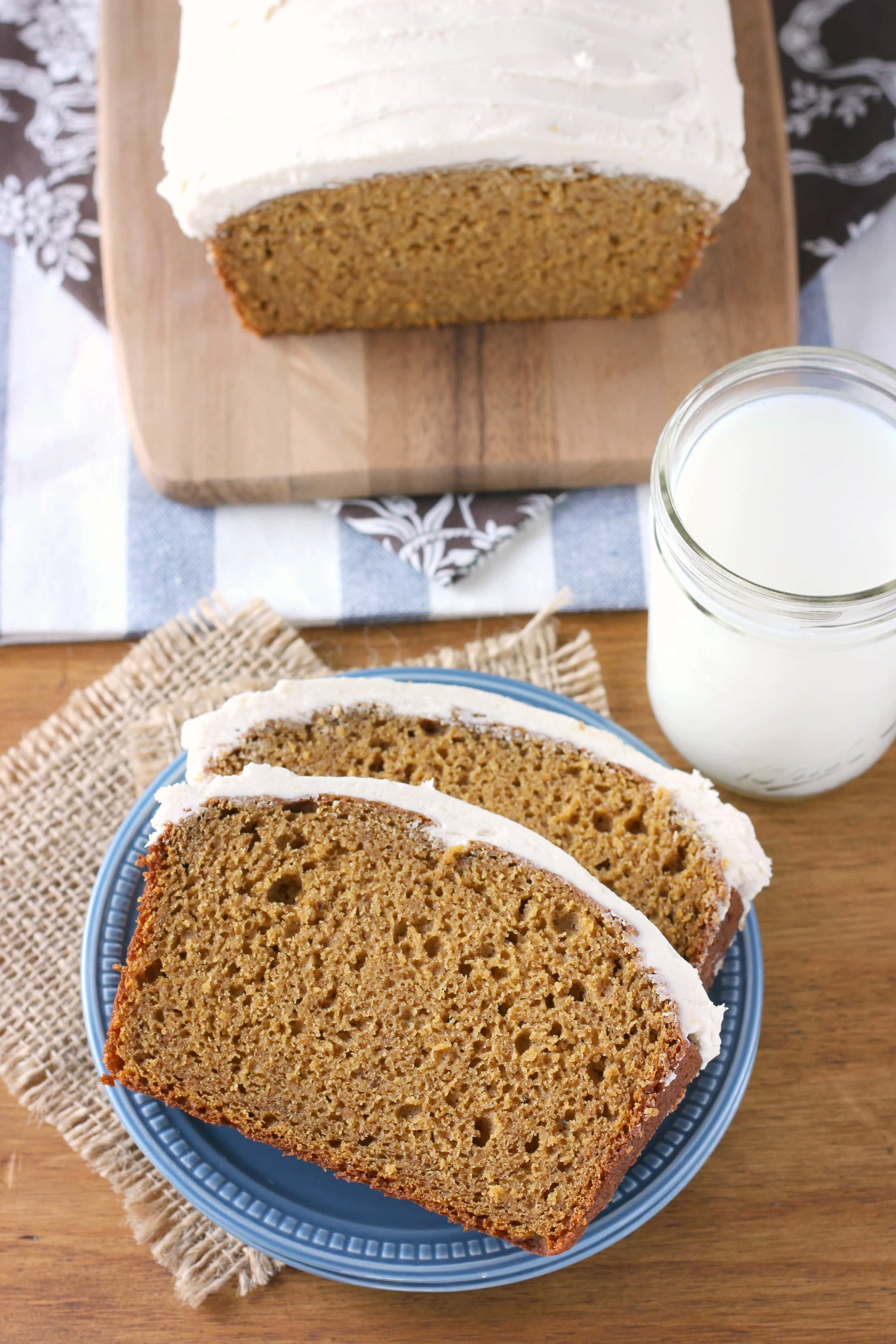 Pumpkin Quick Bread with Maple Buttercream Frosting Recipe from A Kitchen Addiction