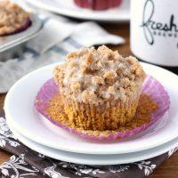 Pumpkin Coffee Cake Muffins with Maple Glaze
