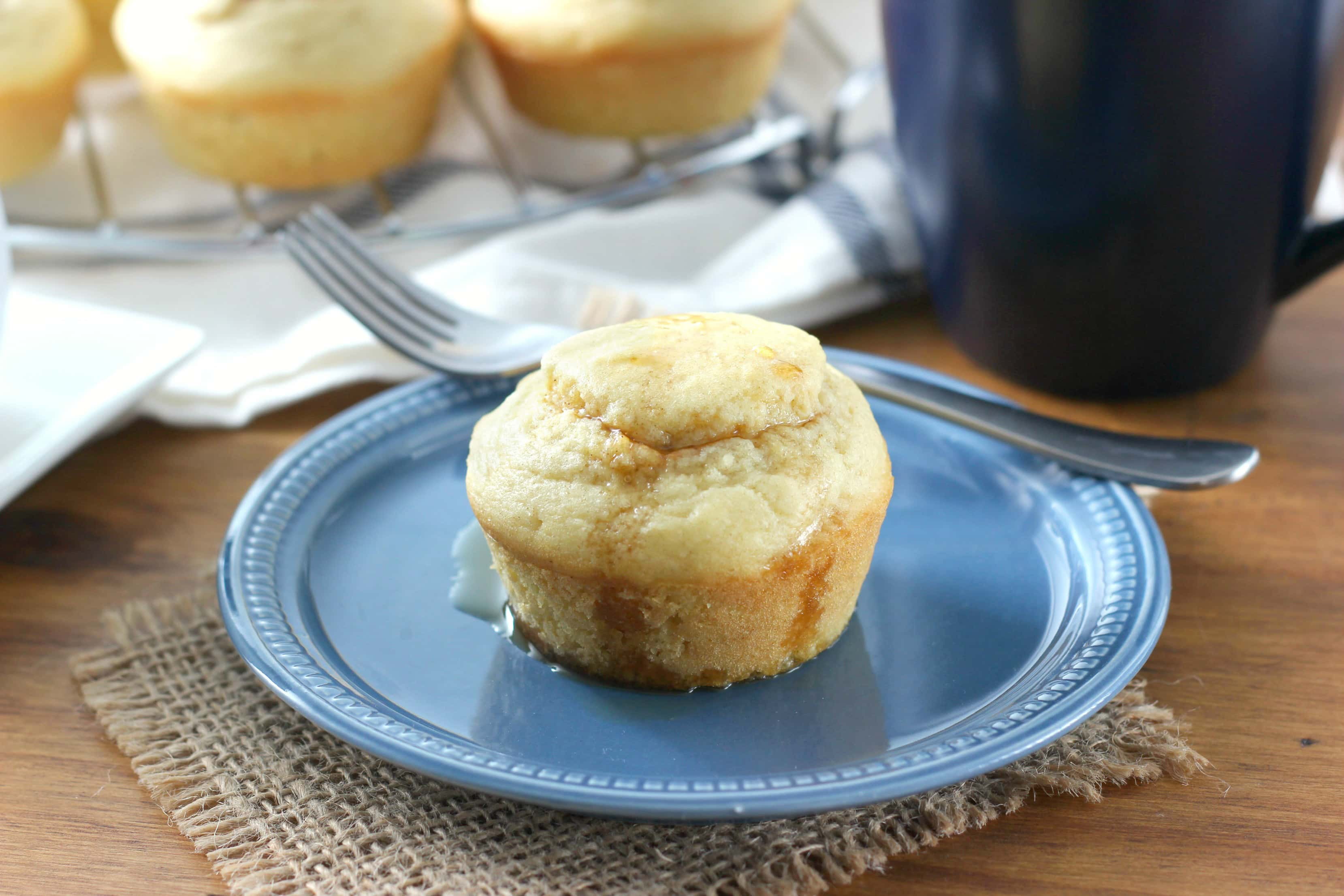 Pumpkin Cream Cheese Swirled Pancake Muffins Recipe from A Kitchen Addiction
