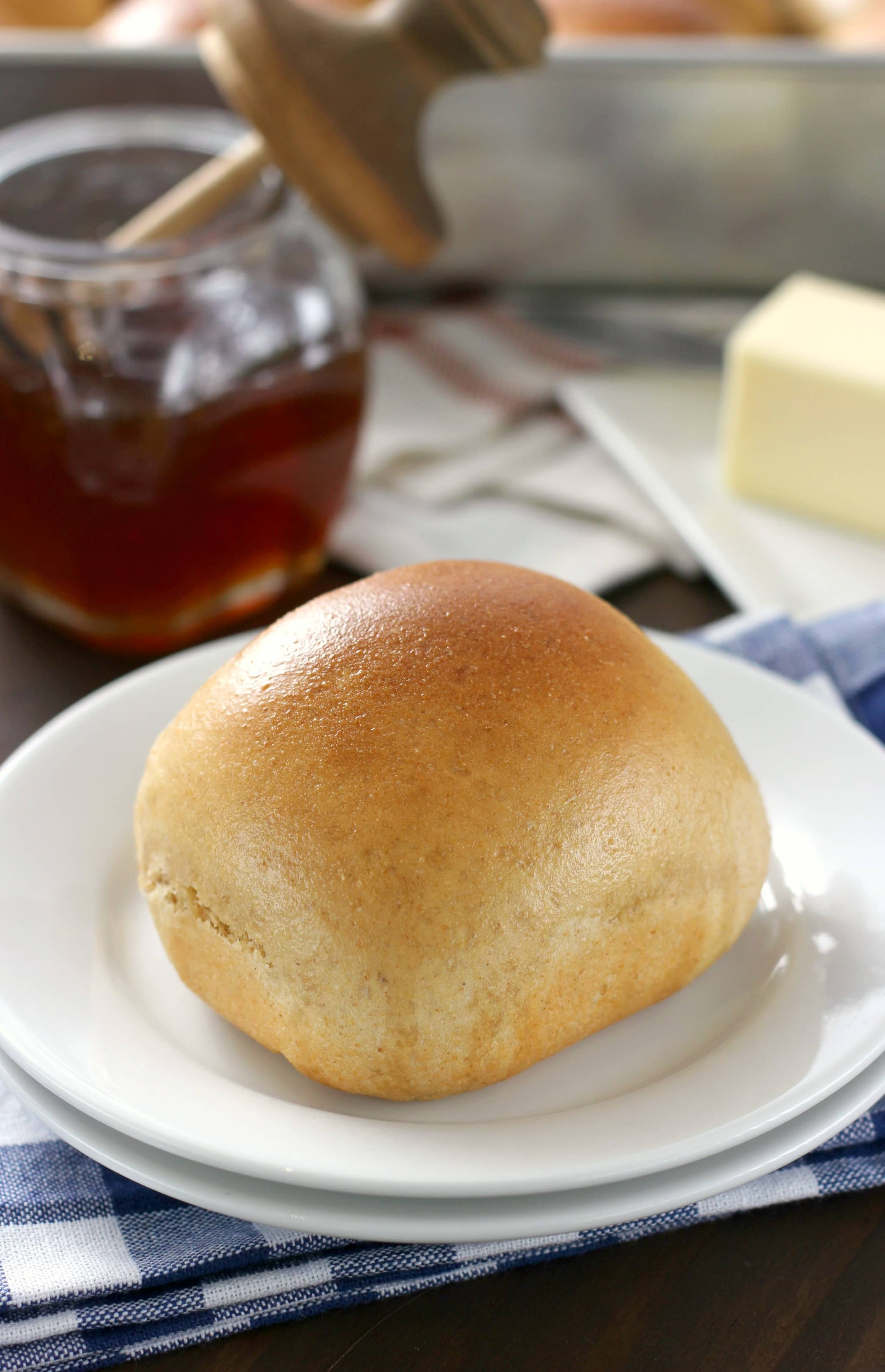 30 Minute Honey Wheat Dinner Rolls Recipe from A Kitchen Addiction